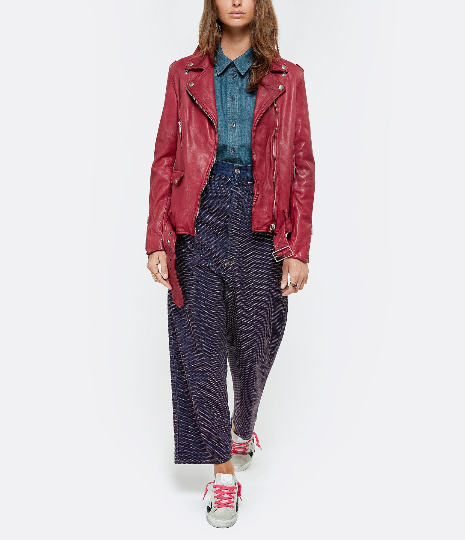 GOLDEN GOOSE - Pantalon Breezy Denim Coton Bleu Délavé
