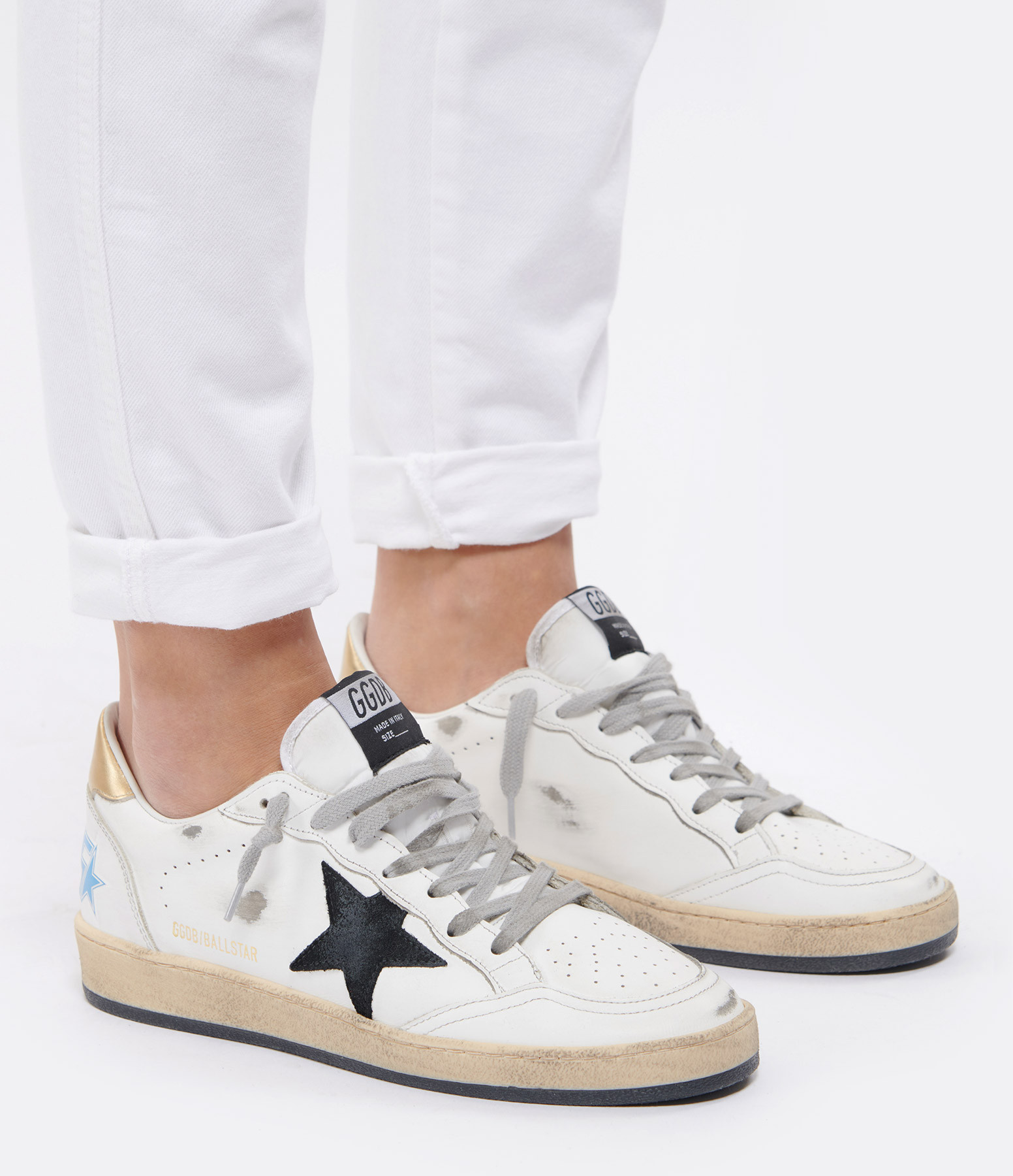 GOLDEN GOOSE - Baskets Ball Star Cuir Suédé Noir Doré