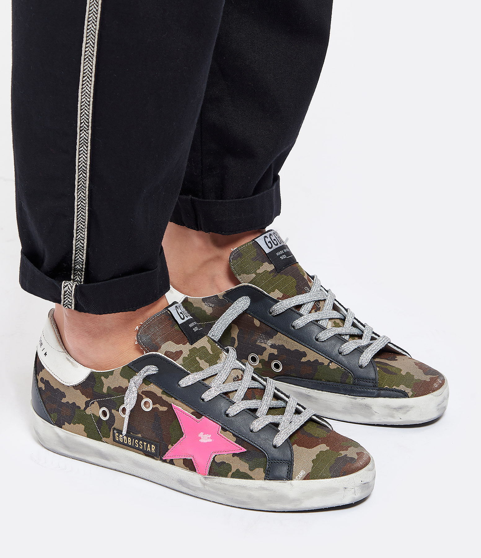 GOLDEN GOOSE - Baskets Superstar Cuir Camouflage Fushia Fluo