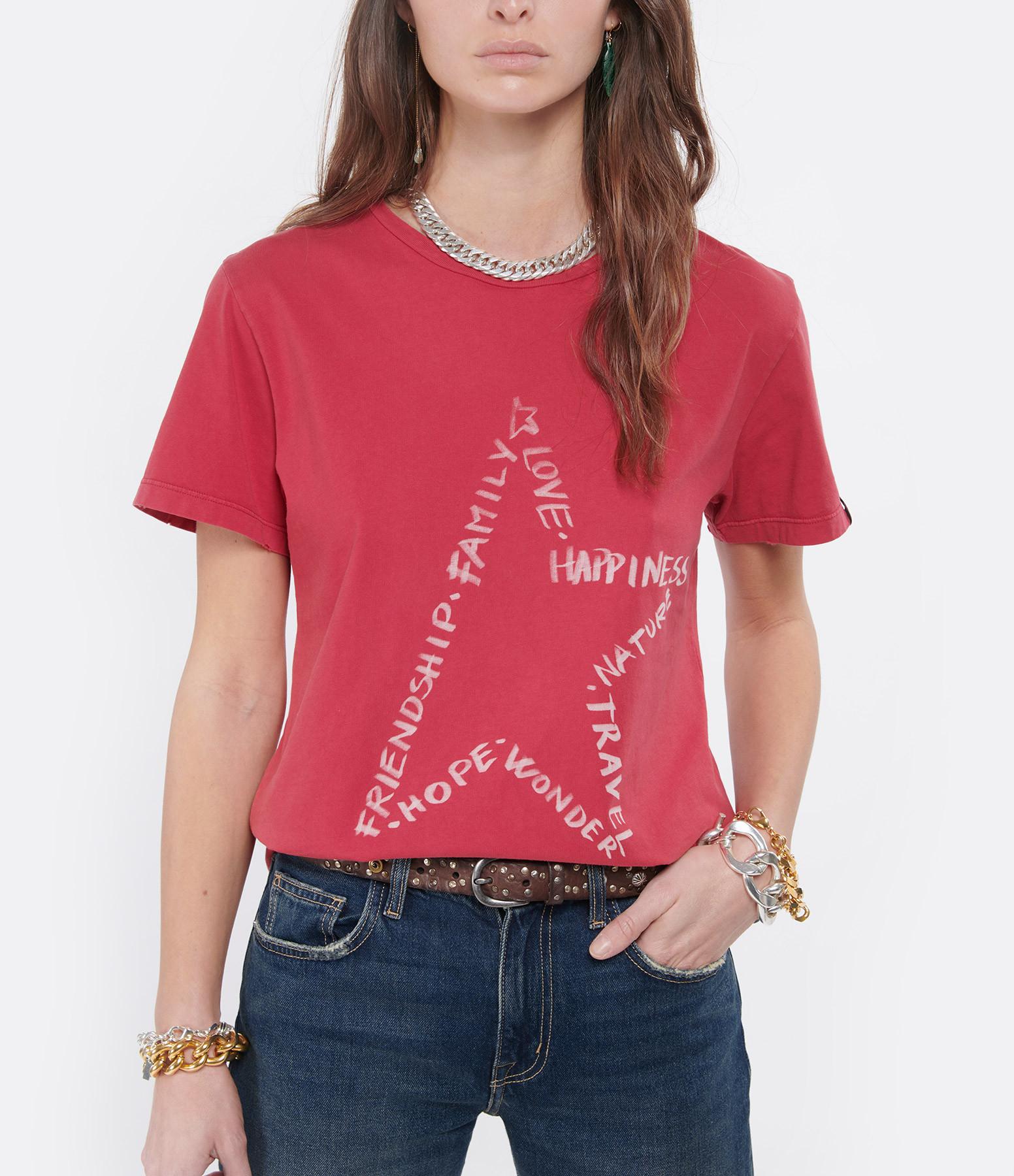 GOLDEN GOOSE - Tee-shirt Ania Étoile Coton Rouge