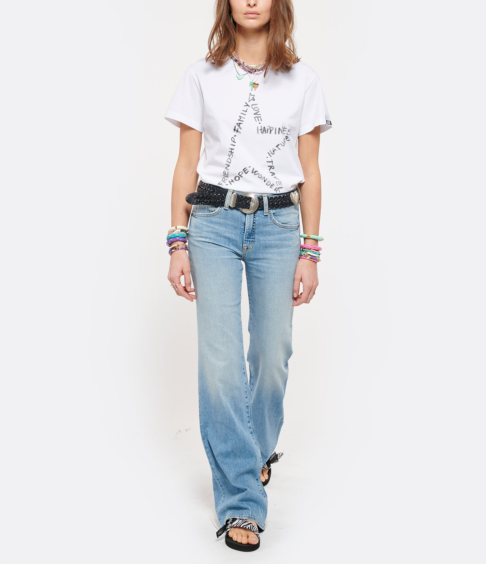 GOLDEN GOOSE - Tee-shirt Ania Étoile Coton Blanc