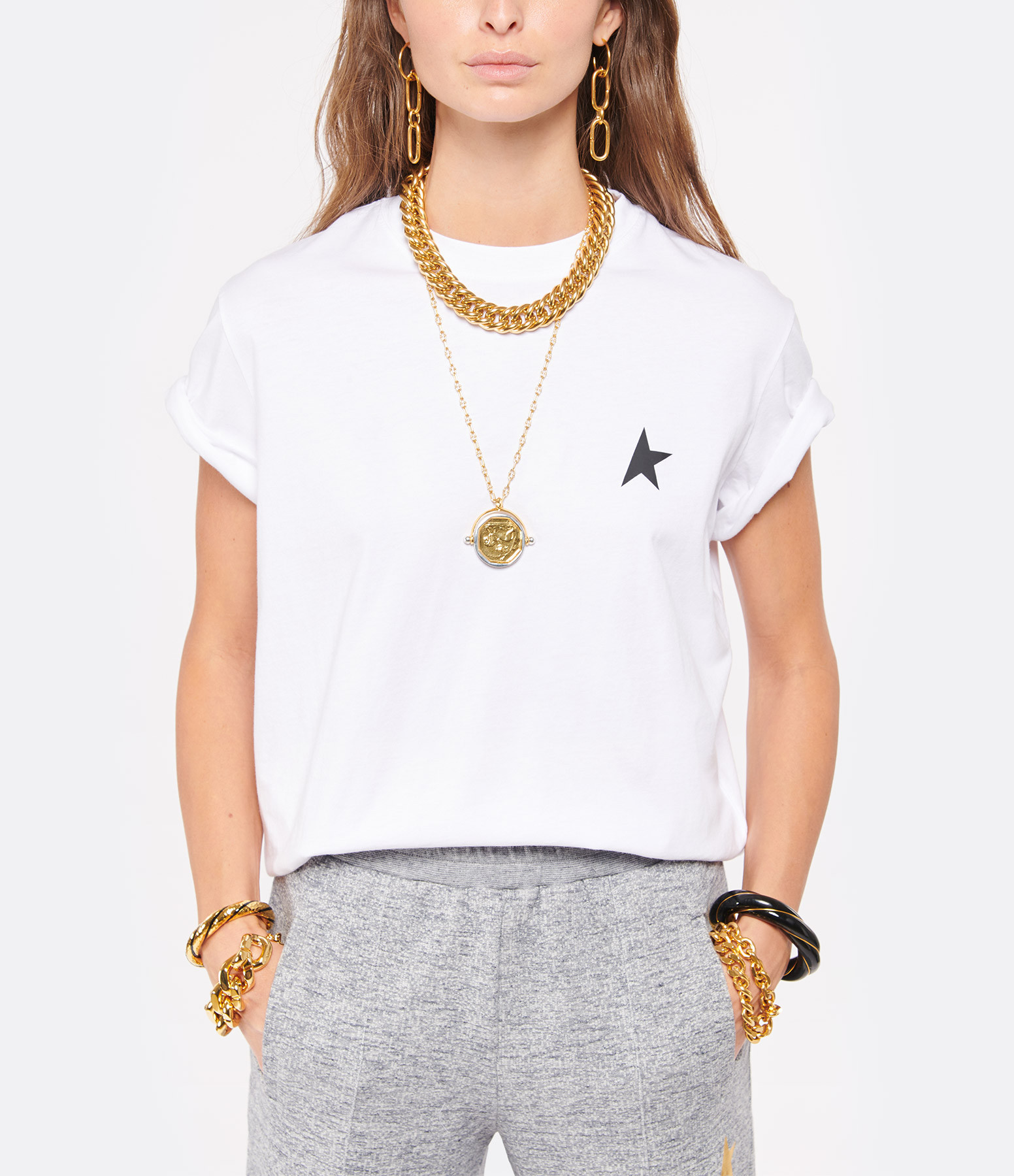 GOLDEN GOOSE - Tee-shirt Golden Étoile Coton Blanc
