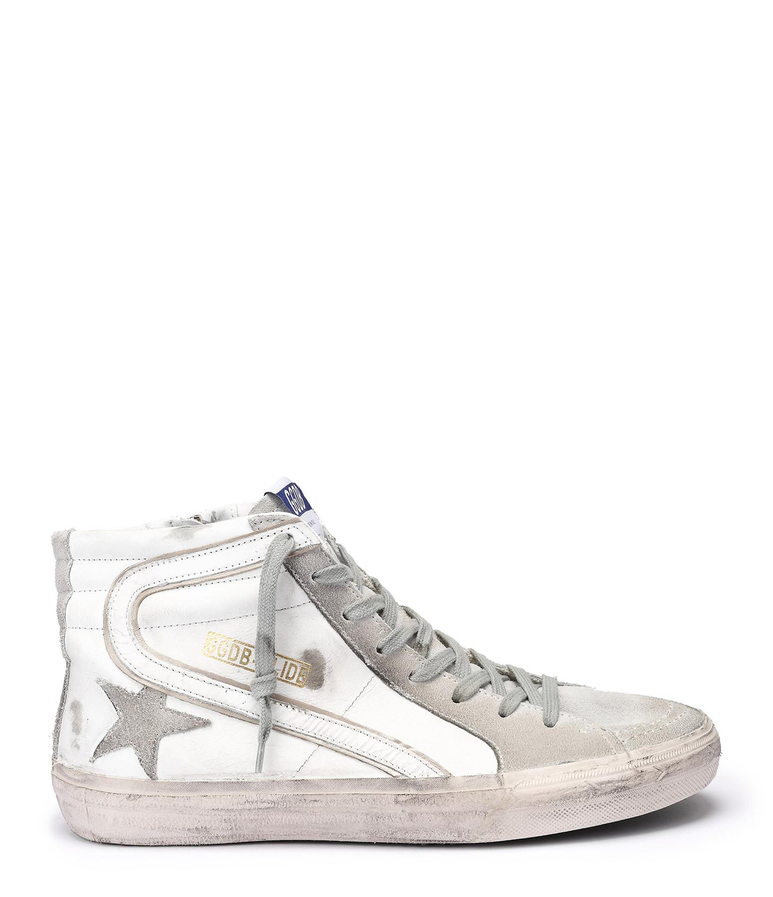 Sneakers Slide Homme Cuir Blanc - GOLDEN GOOSE