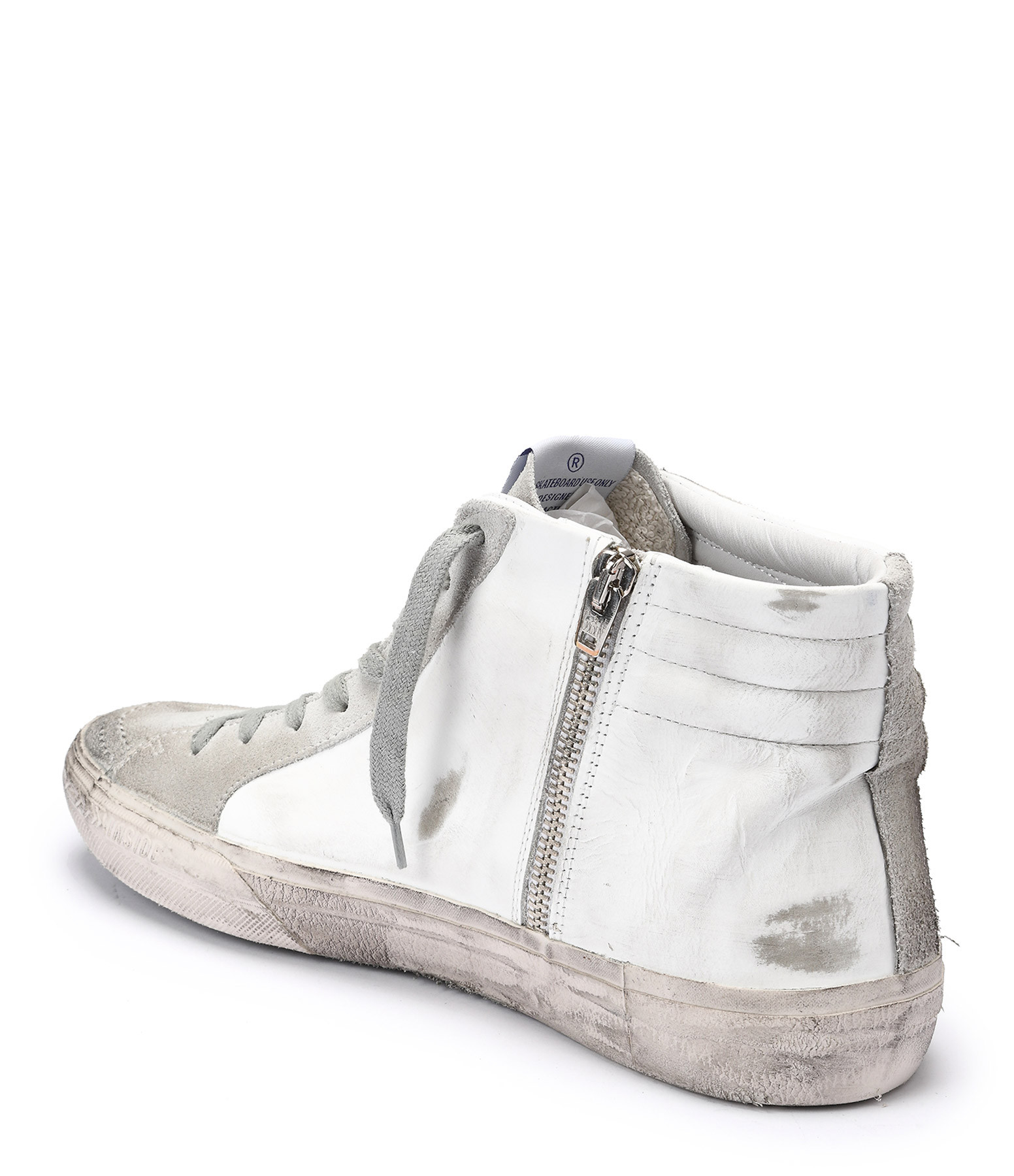 Baskets Sneakers Slide Homme Cuir Blanc - GOLDEN GOOSE
