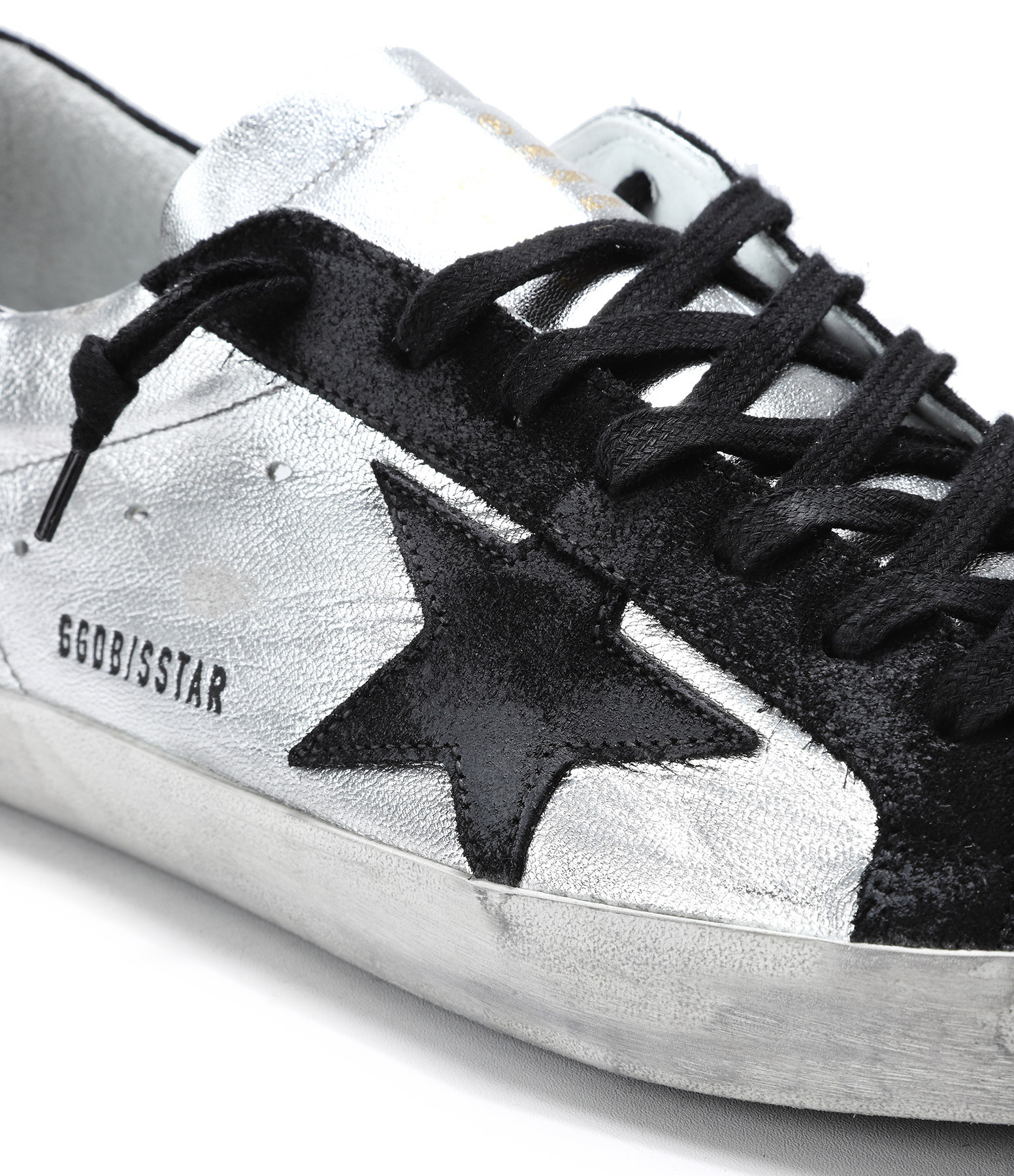 Sneakers Superstar Homme Cuir Silver Black Leather - GOLDEN GOOSE