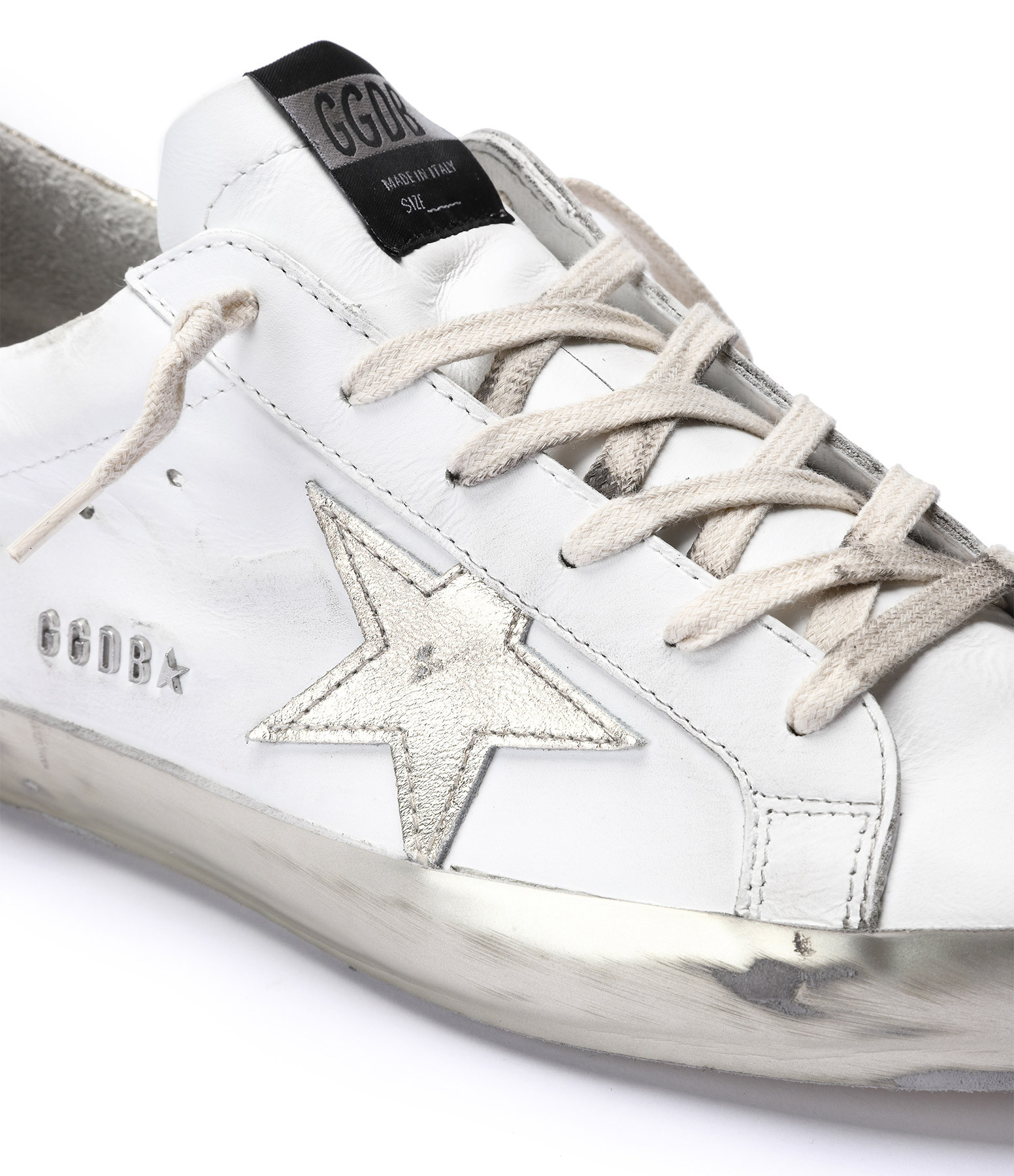 GOLDEN GOOSE - Baskets Superstar Cuir Blanc Doré