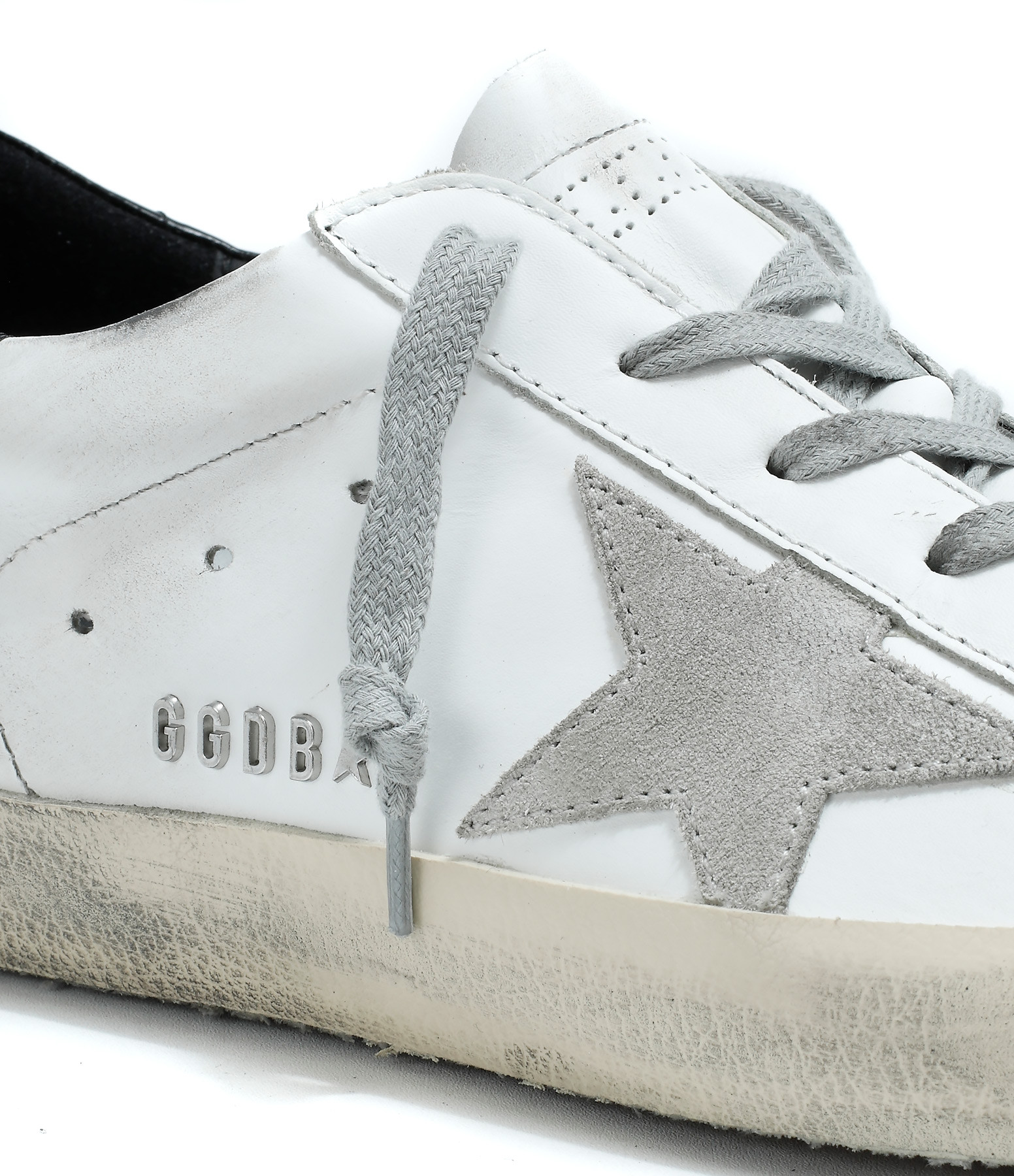 GOLDEN GOOSE - Baskets Superstar Blanc Noir Métal