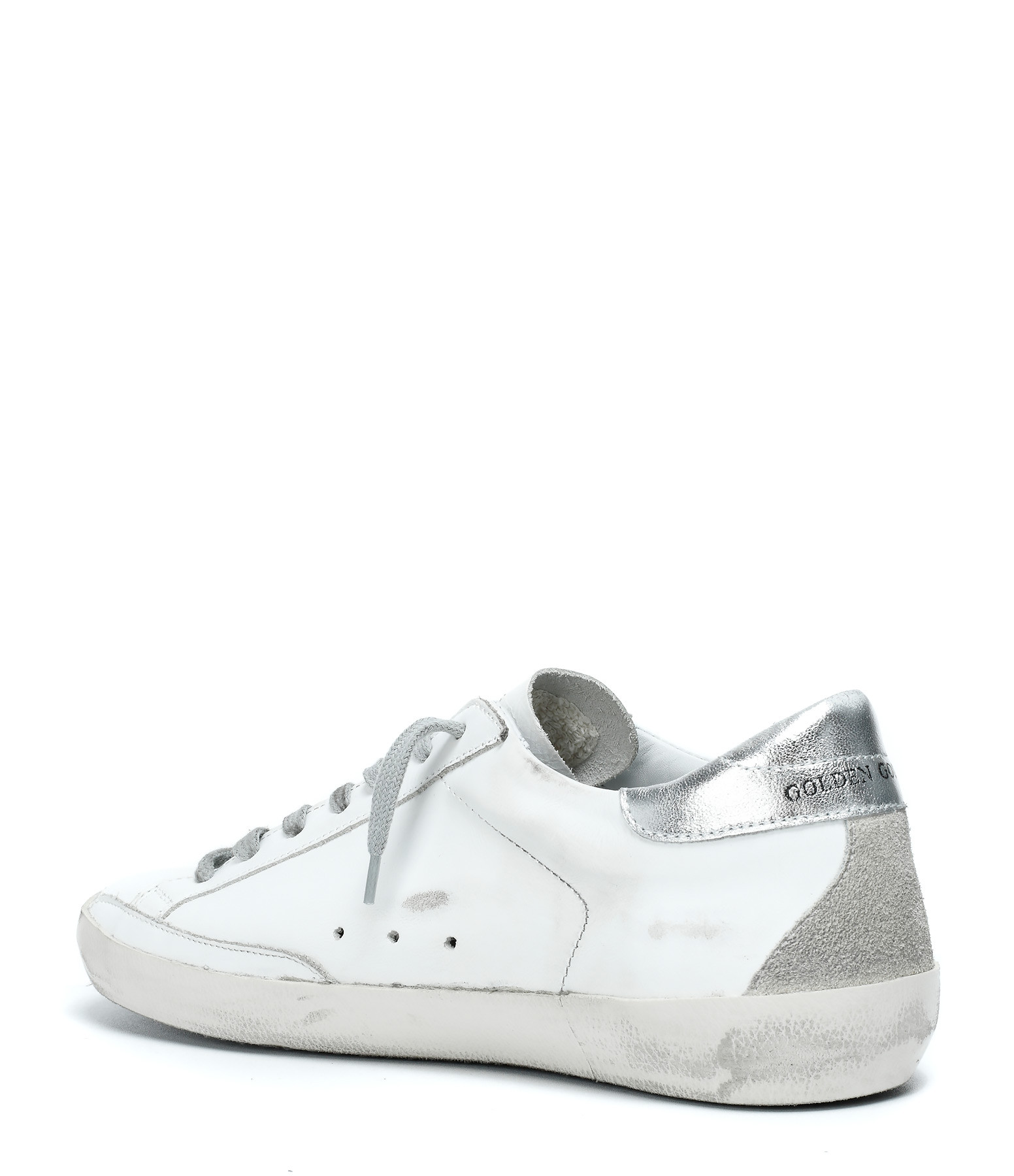 GOLDEN GOOSE - Sneakers Baskets Homme Superstar Noir Argenté Métal