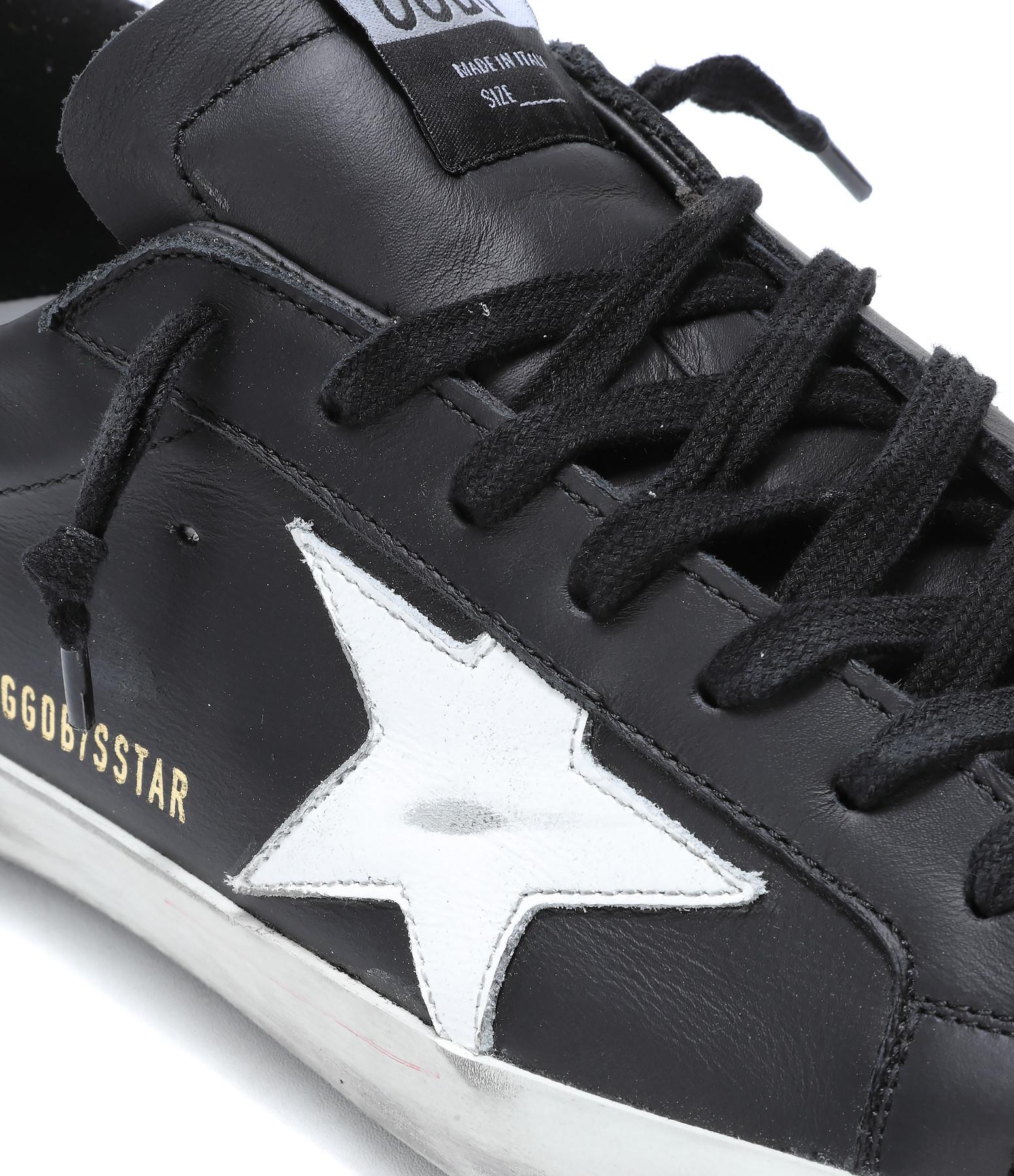 GOLDEN GOOSE - Baskets Homme Superstar Cuir Noir Blanc