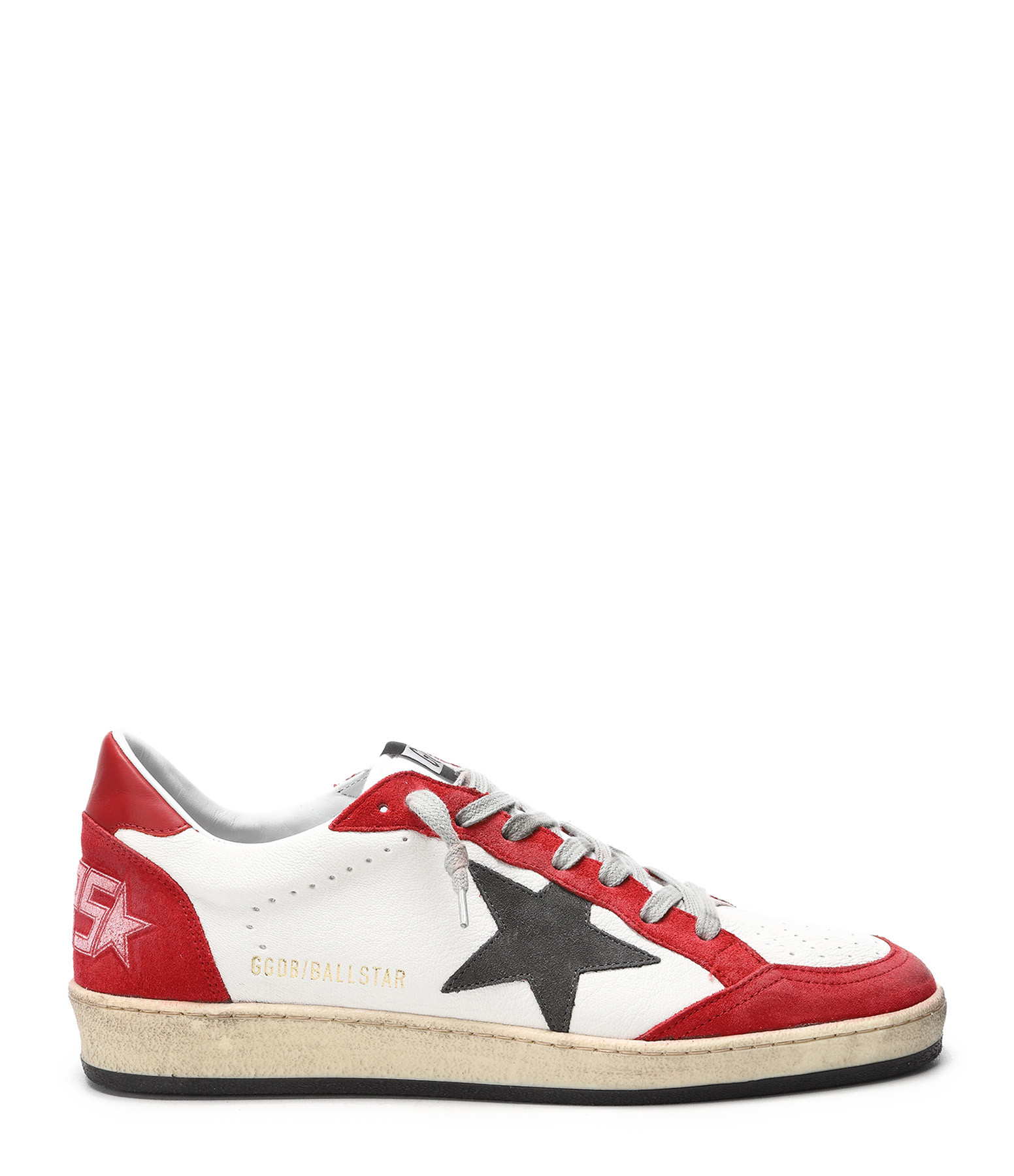 GOLDEN GOOSE - Baskets Homme Ball Star Blanc Rouge