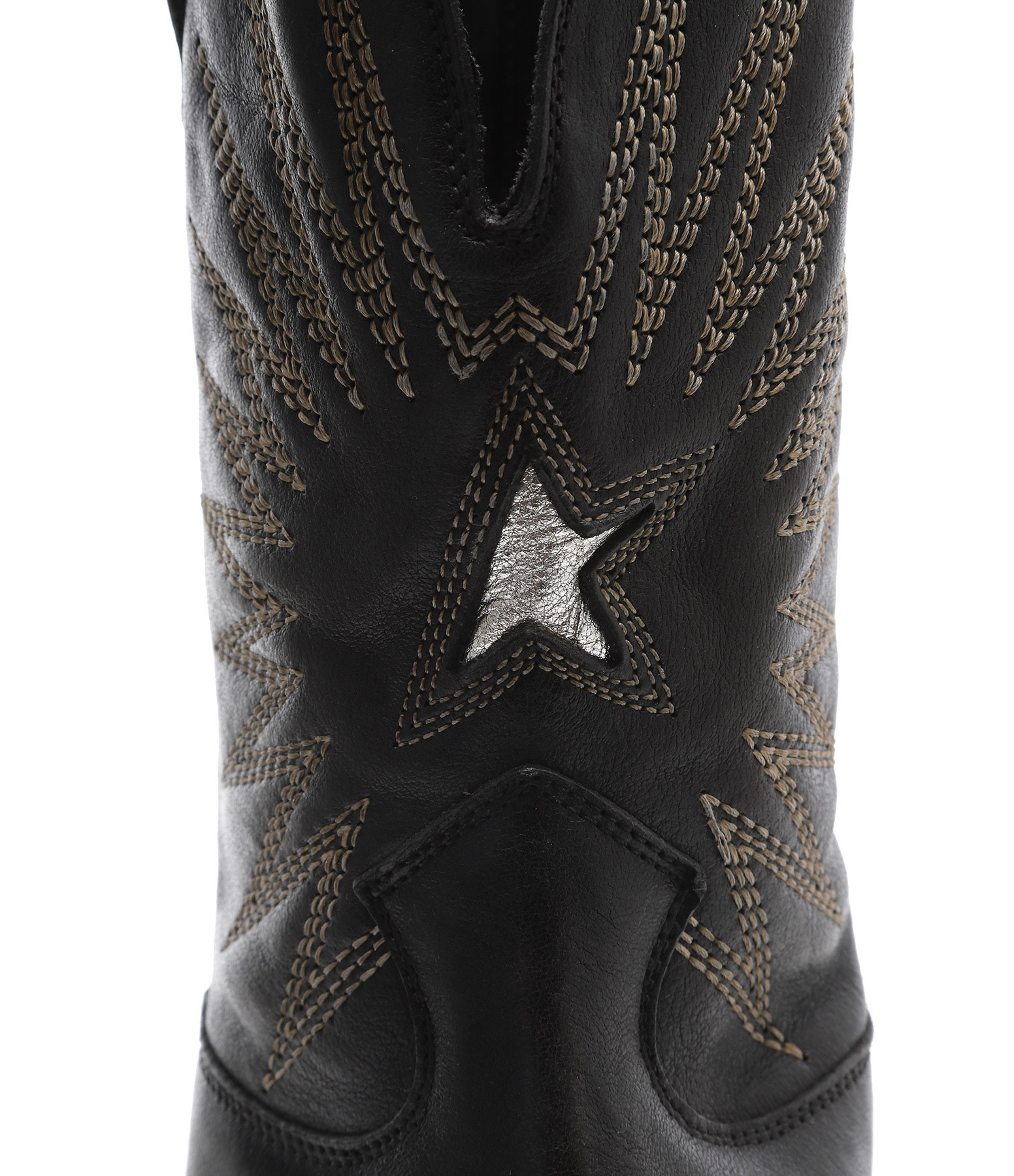 GOLDEN GOOSE - Bottines Wish Star Low Cuir Noir