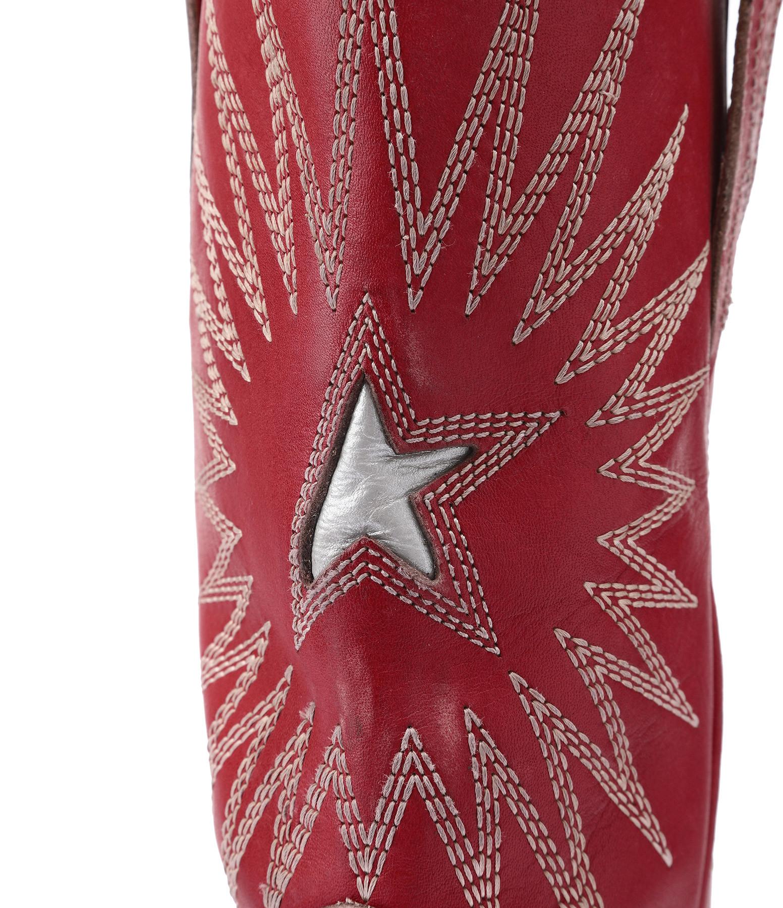 GOLDEN GOOSE - Bottes Wish Star Cuir Spritz Rouge