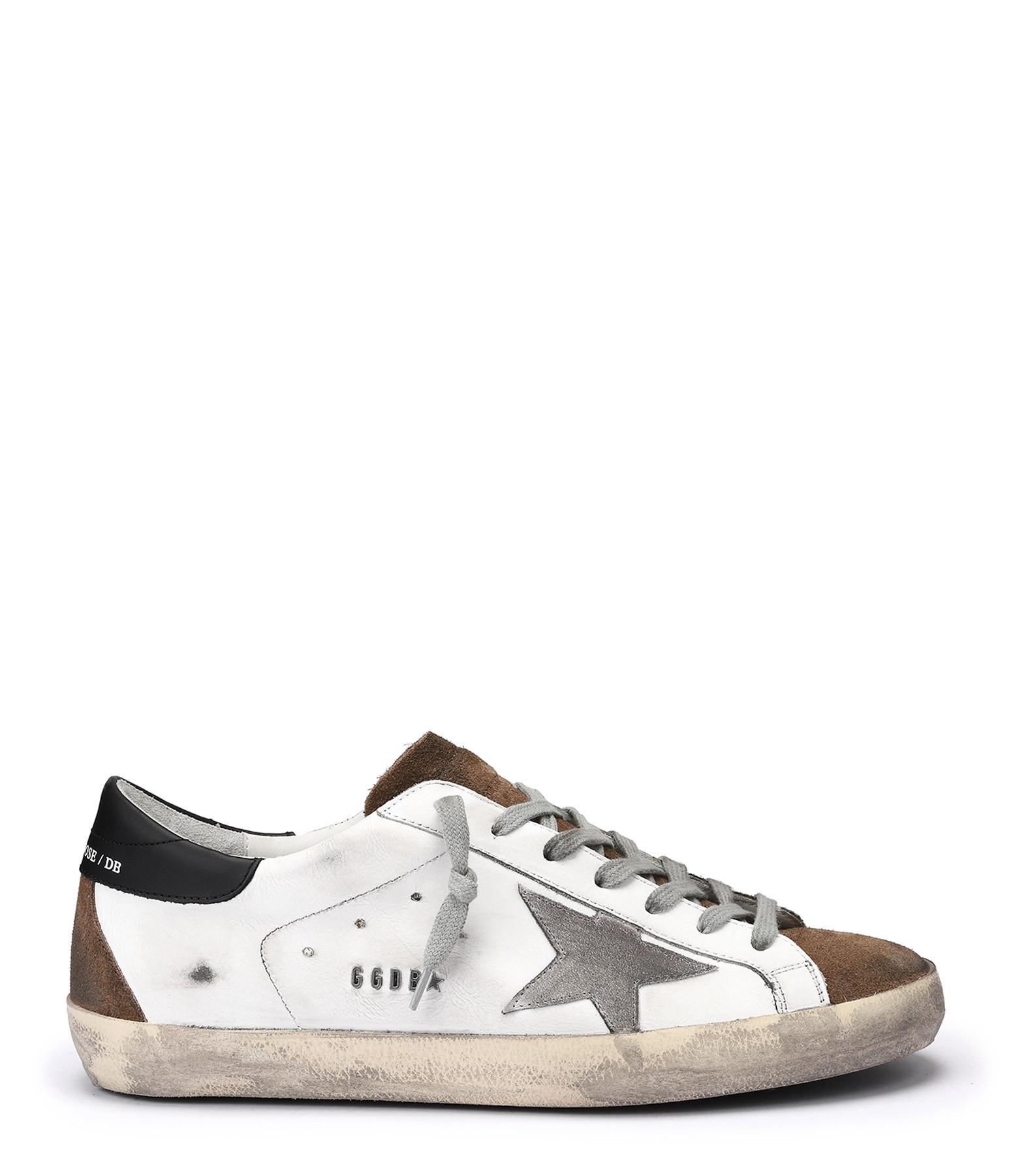 authorized site various design running shoes GOLDEN GOOSE - Baskets Homme Superstar Cuir Suédé Blanc Bleu