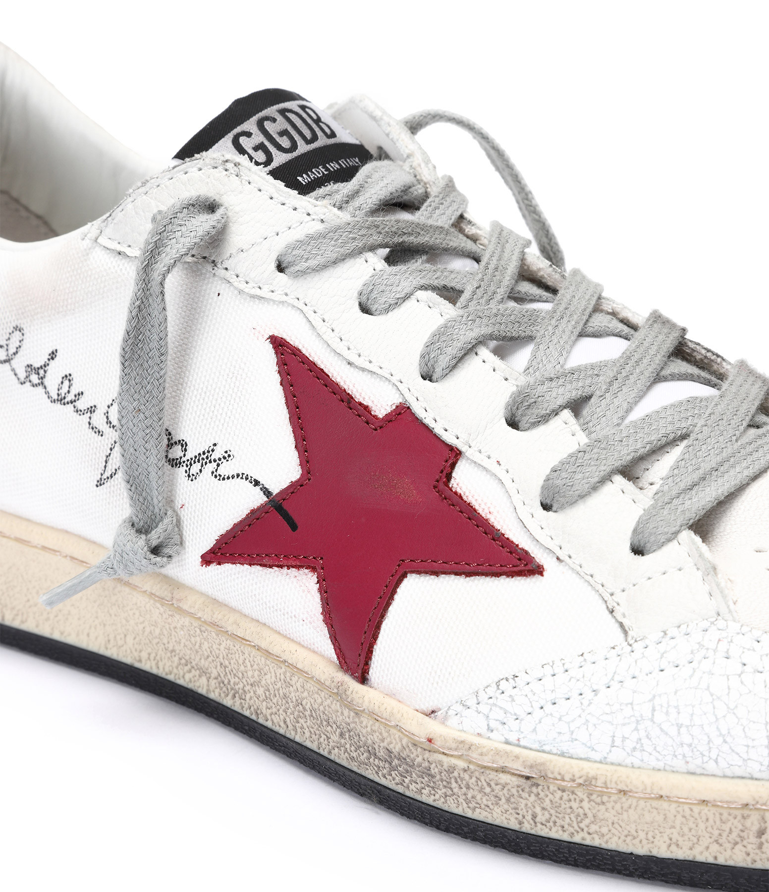 GOLDEN GOOSE - Baskets Homme Ball Star Signature Blanc Jaune