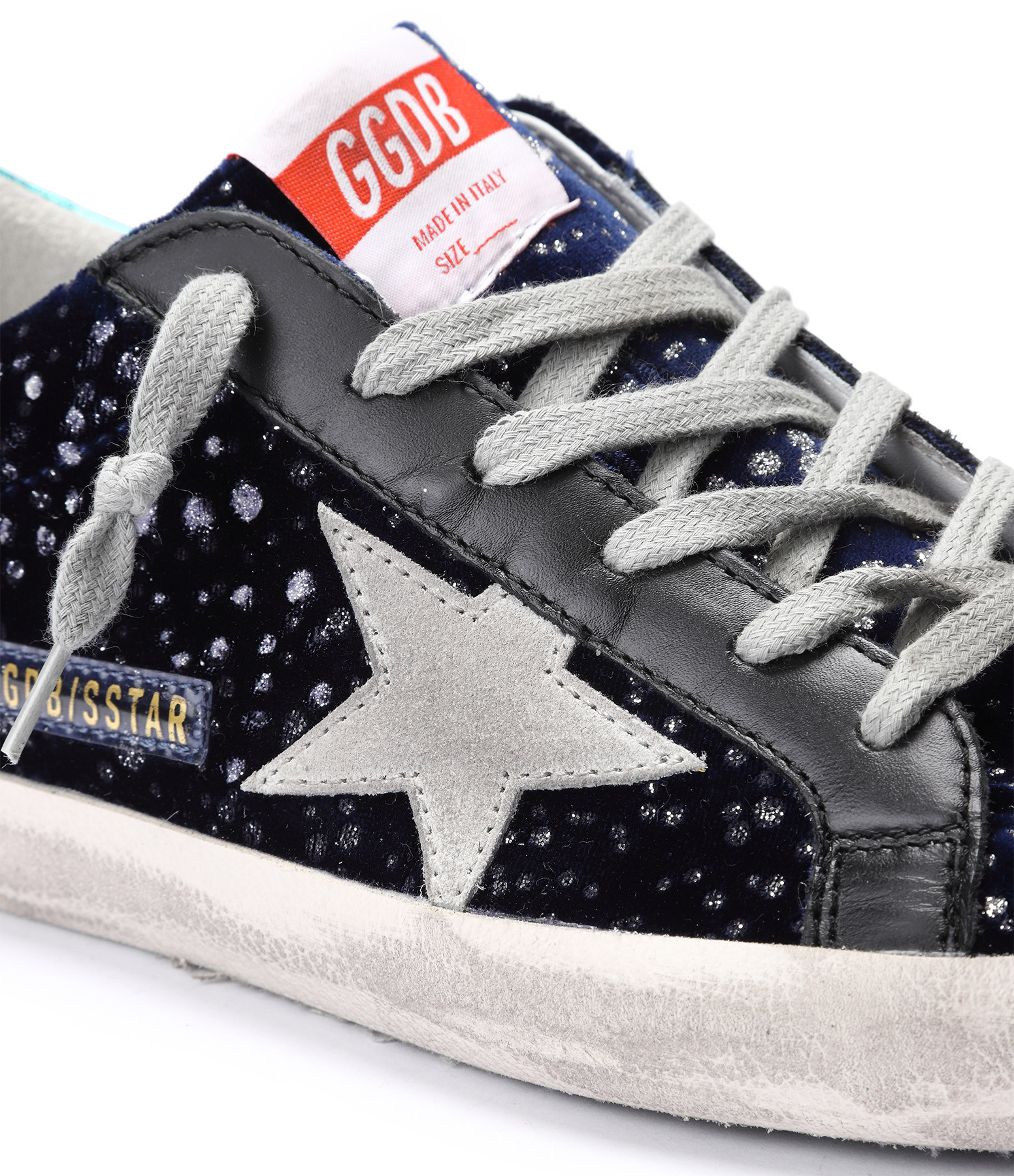GOLDEN GOOSE - Baskets Superstar Cuir Velours Paillettes Turquoise