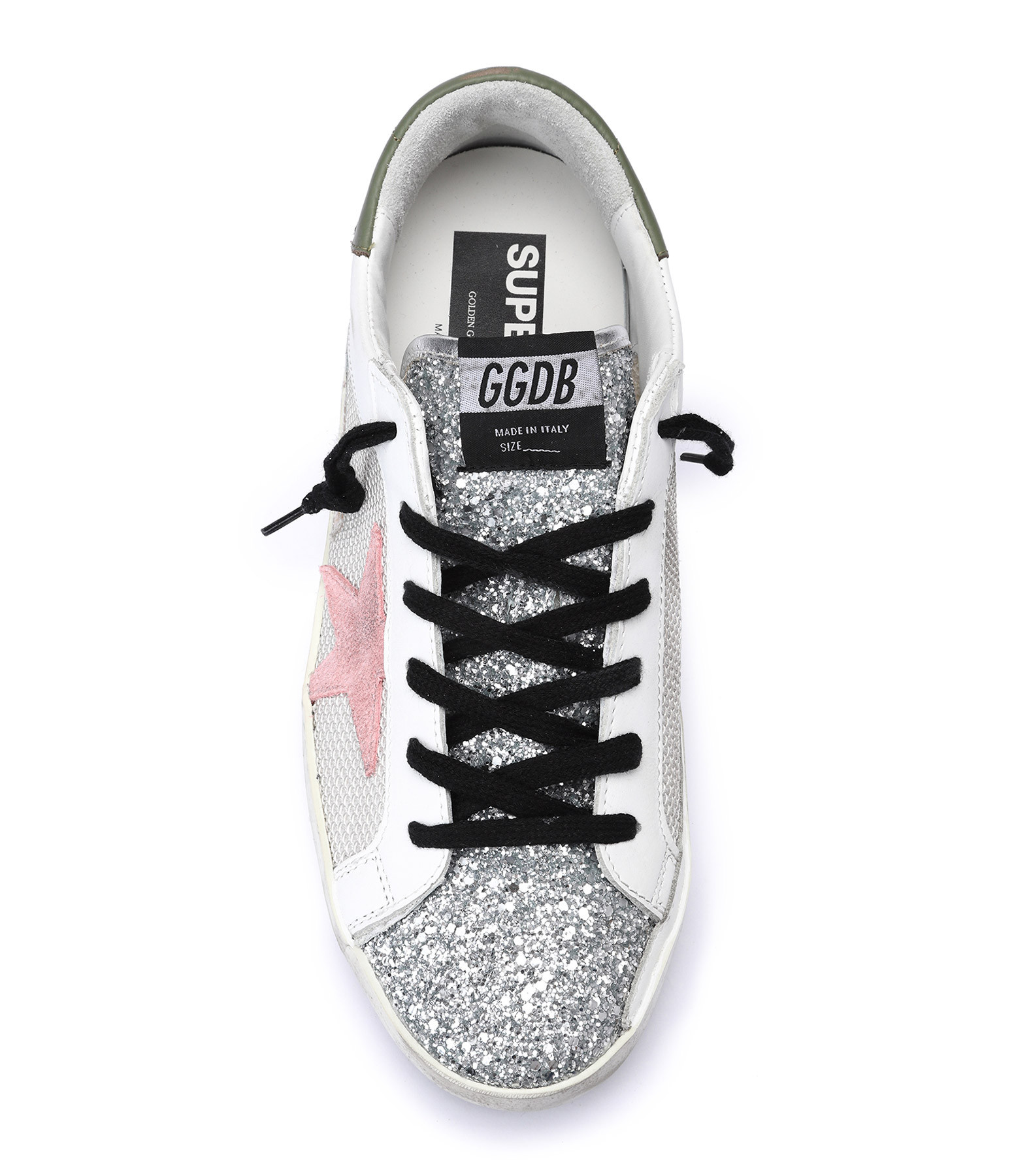 GOLDEN GOOSE - Baskets Superstar Cuir Cord Gris Argenté