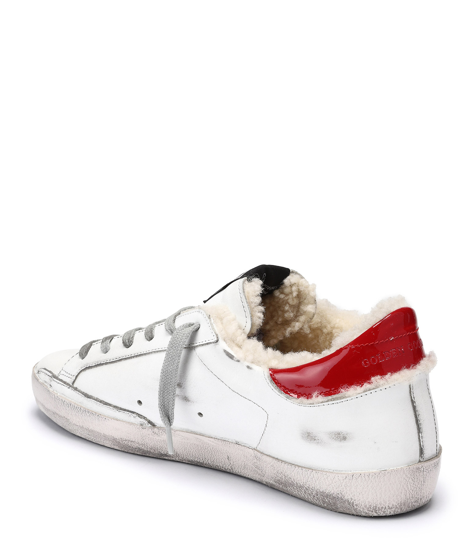 GOLDEN GOOSE - Baskets Superstar Léopard Mouton Cuir Blanc