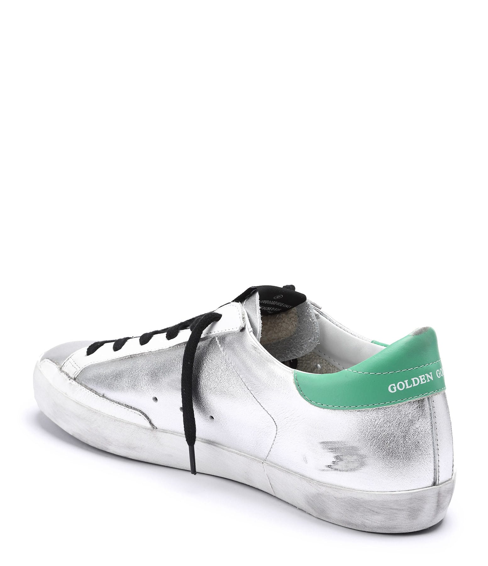 GOLDEN GOOSE - Baskets Superstar Cuir Argenté Vert Rouge