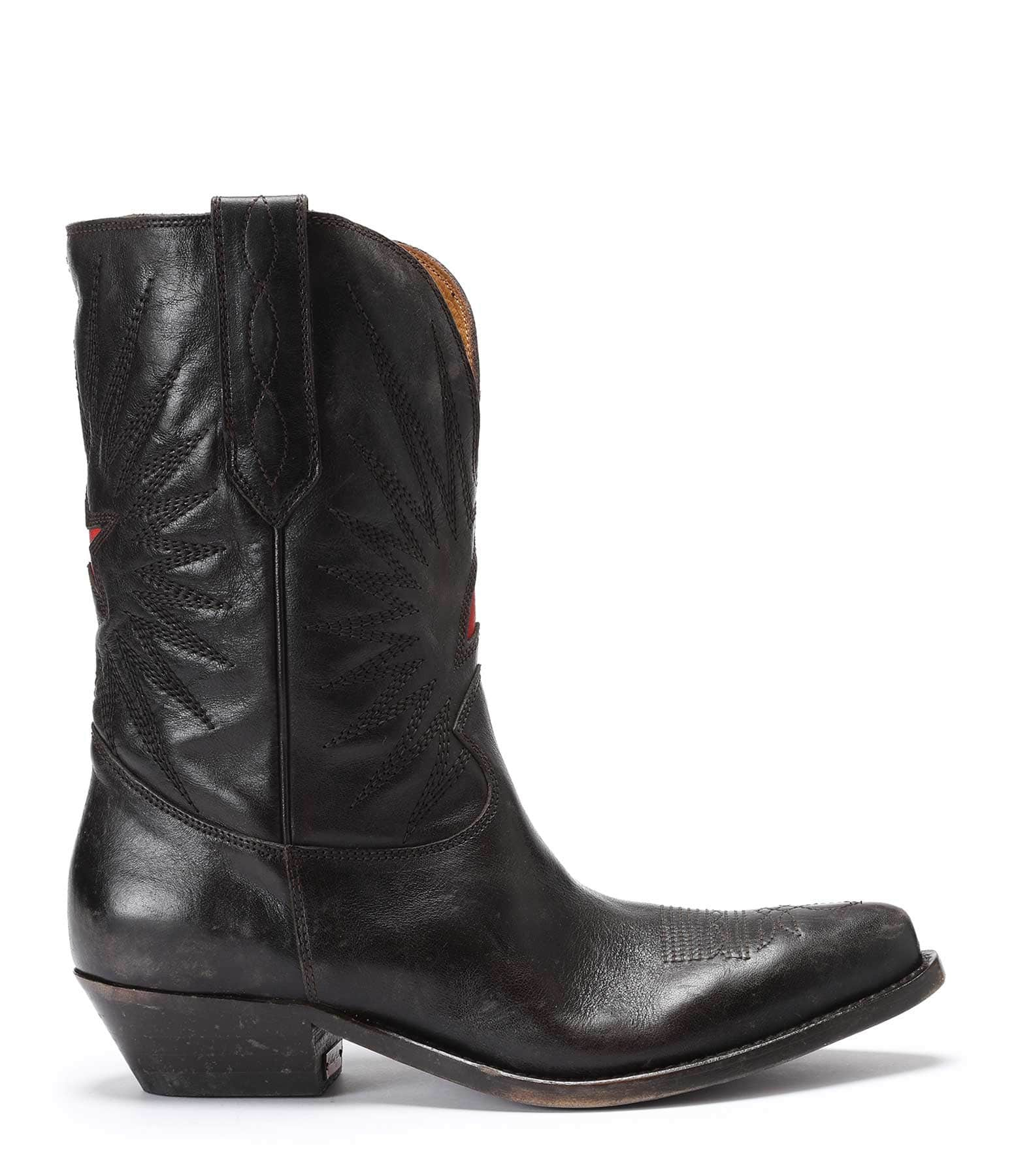 GOLDEN GOOSE - Bottes Wish Star Low Cuir Marron
