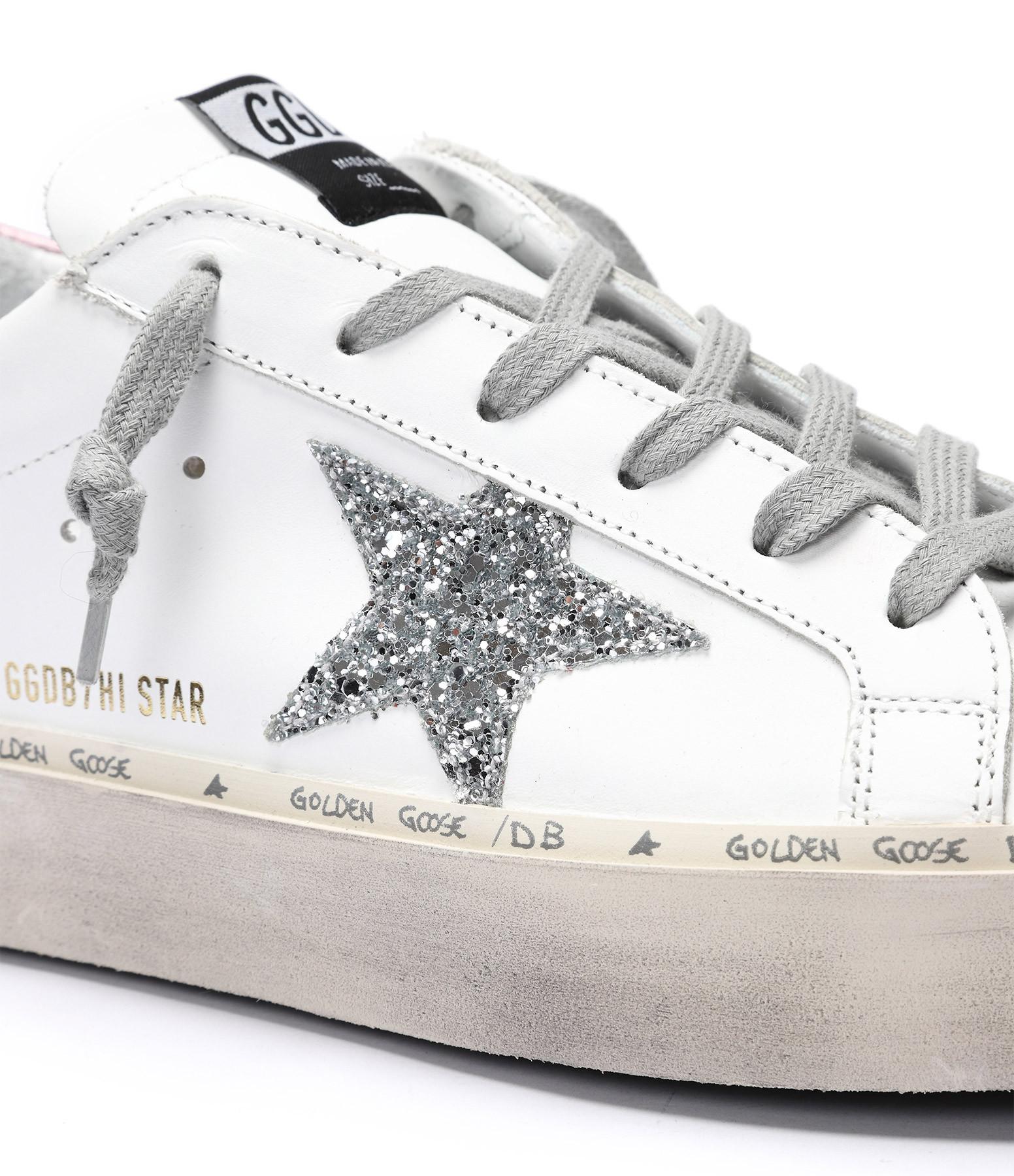 GOLDEN GOOSE - Baskets Hi Star Cuir Blanc Rose Argenté
