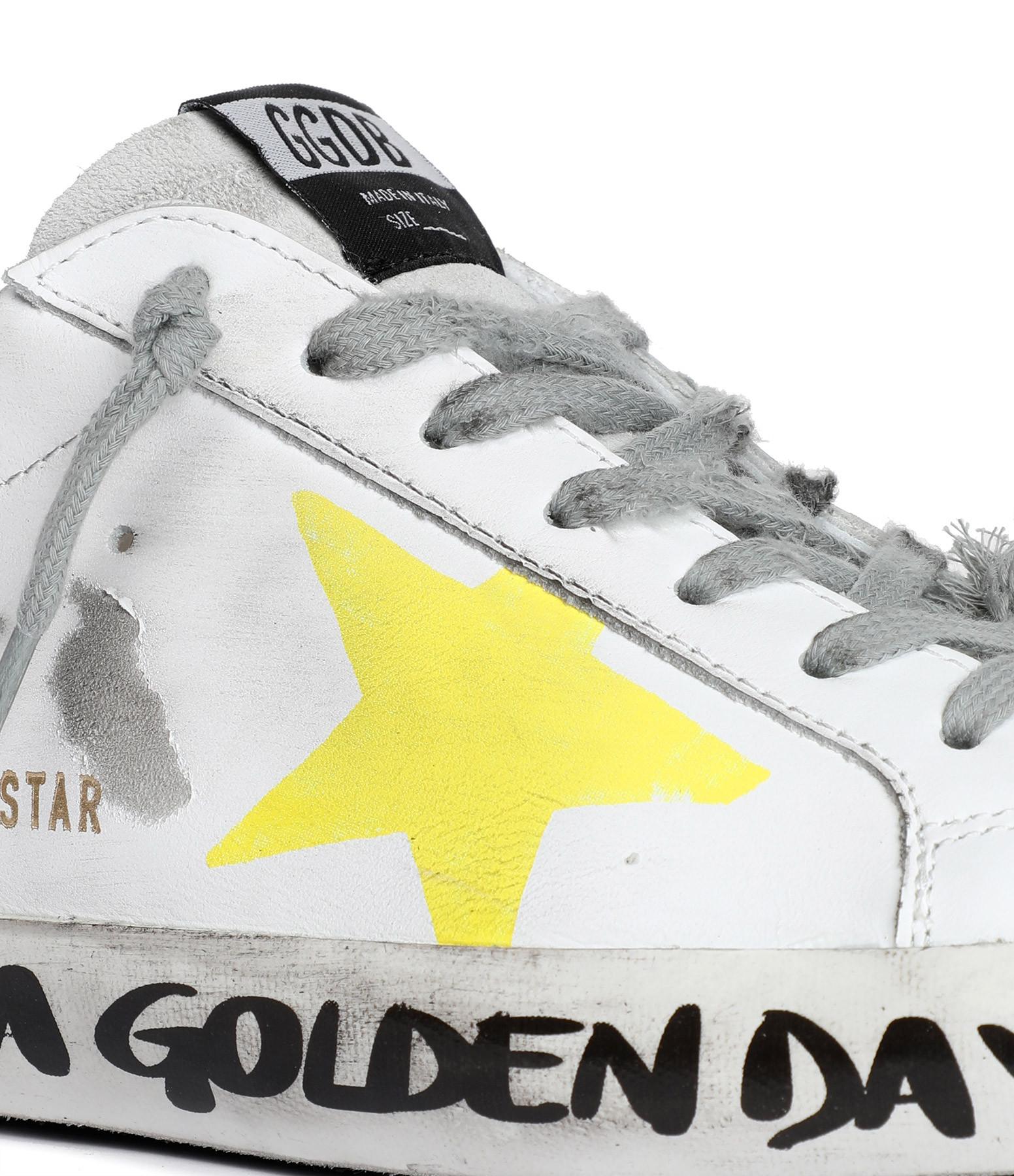 GOLDEN GOOSE - Baskets Homme Superstar Cuir Blanc Jaune