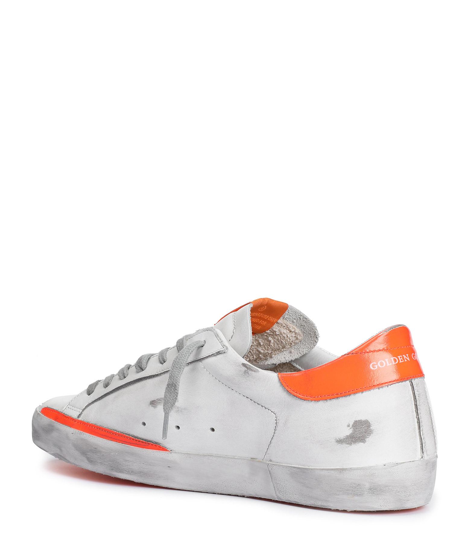 GOLDEN GOOSE - Baskets Homme Superstar Cuir Blanc Orange
