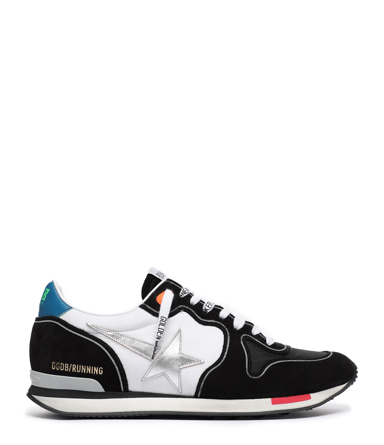 GOLDEN GOOSE - Baskets Homme Running Nylon Noir Blanc