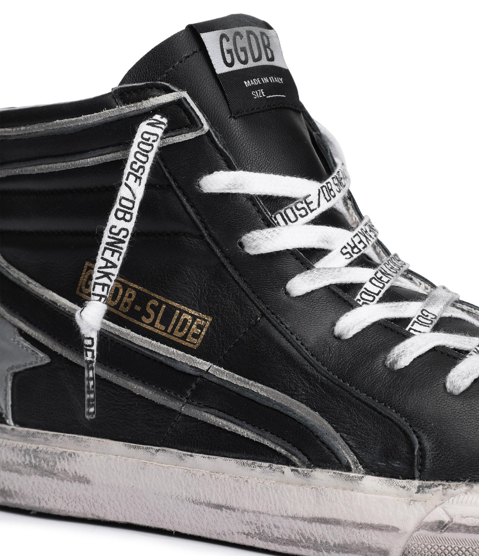 GOLDEN GOOSE - Baskets Homme Slide Cuir Noir Argenté