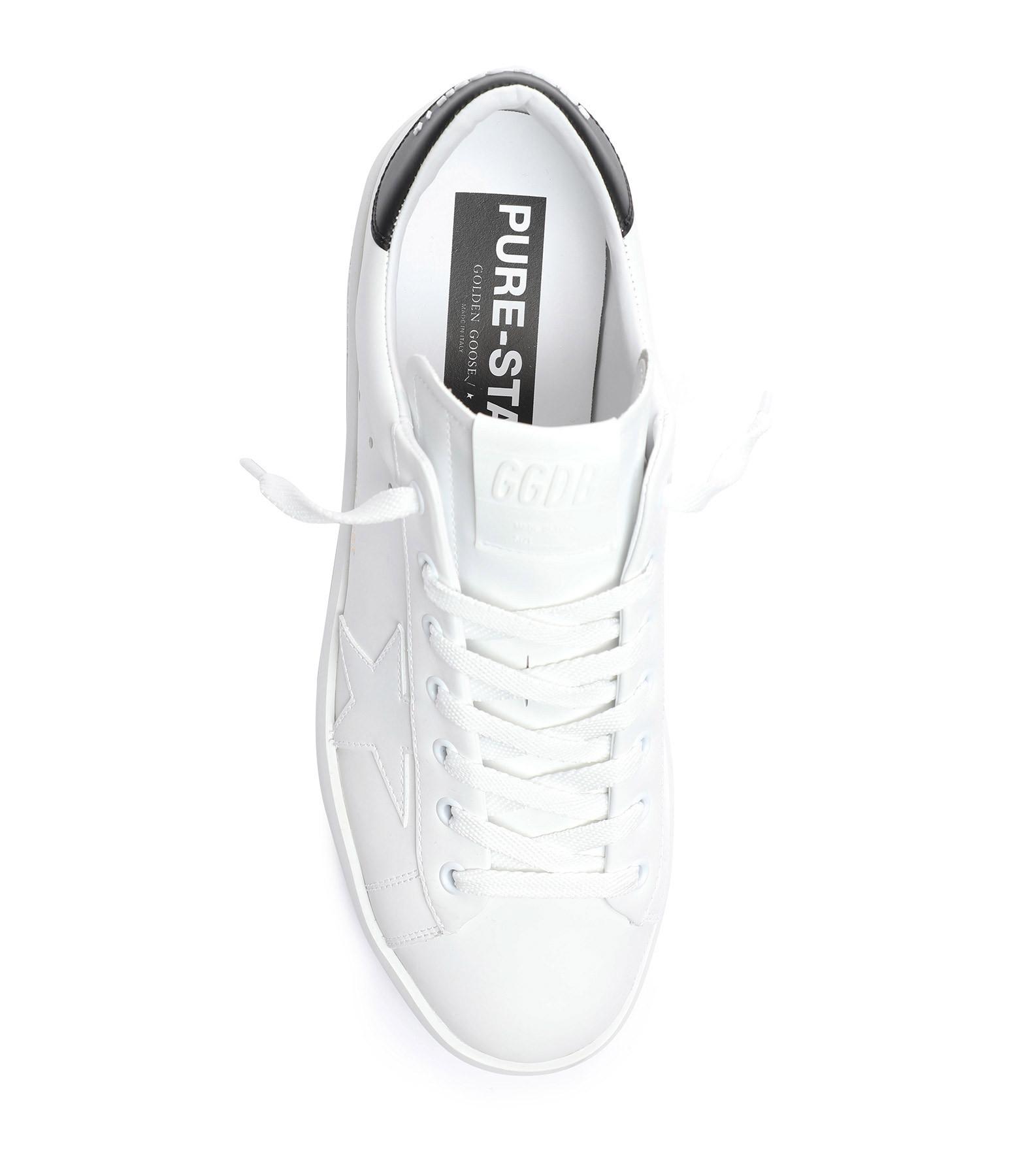 GOLDEN GOOSE - Baskets Purestar Cuir Blanc Noir