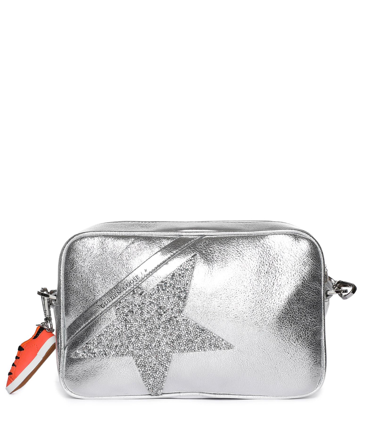 GOLDEN GOOSE - Sac Star Cuir Lisse Étoile Gris Swarovski Crystal