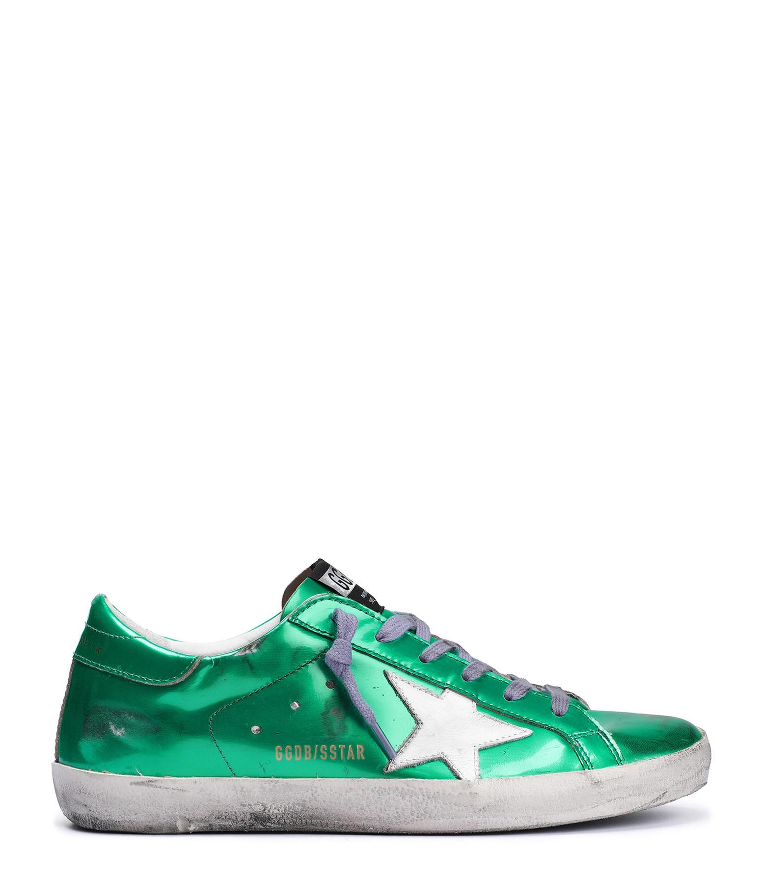 GOLDEN GOOSE - Baskets Superstar Cuir Vert Violet