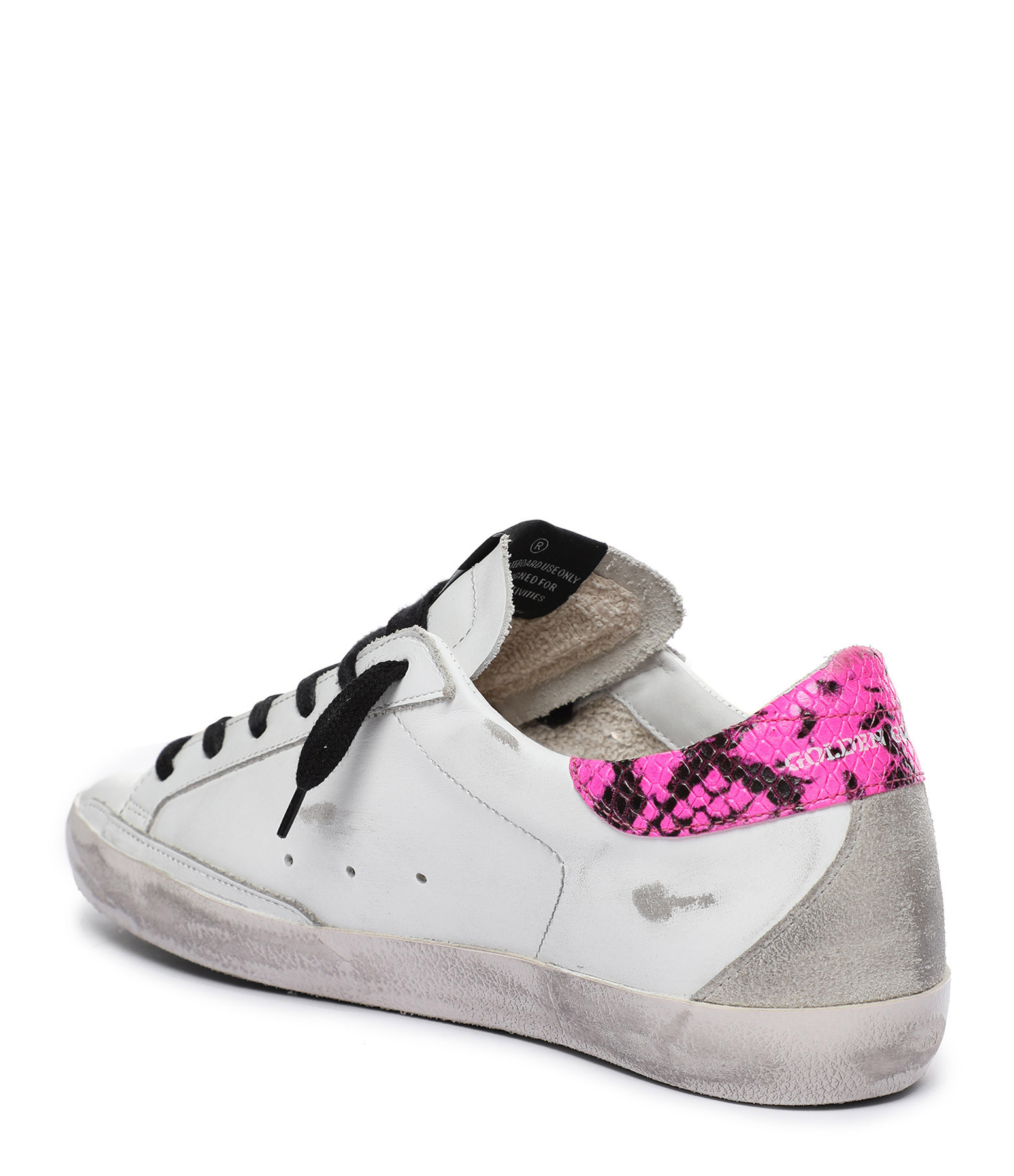 GOLDEN GOOSE - Baskets Superstar Cuir Blanc Python Rose