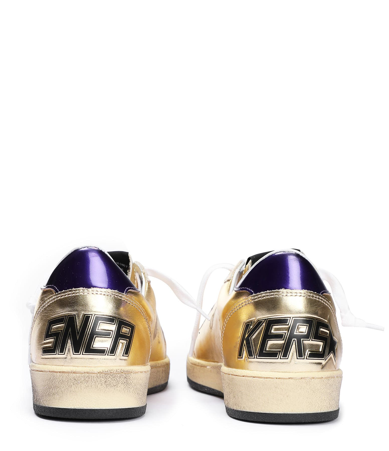 GOLDEN GOOSE - Baskets Ball Star Cuir Champa Violet