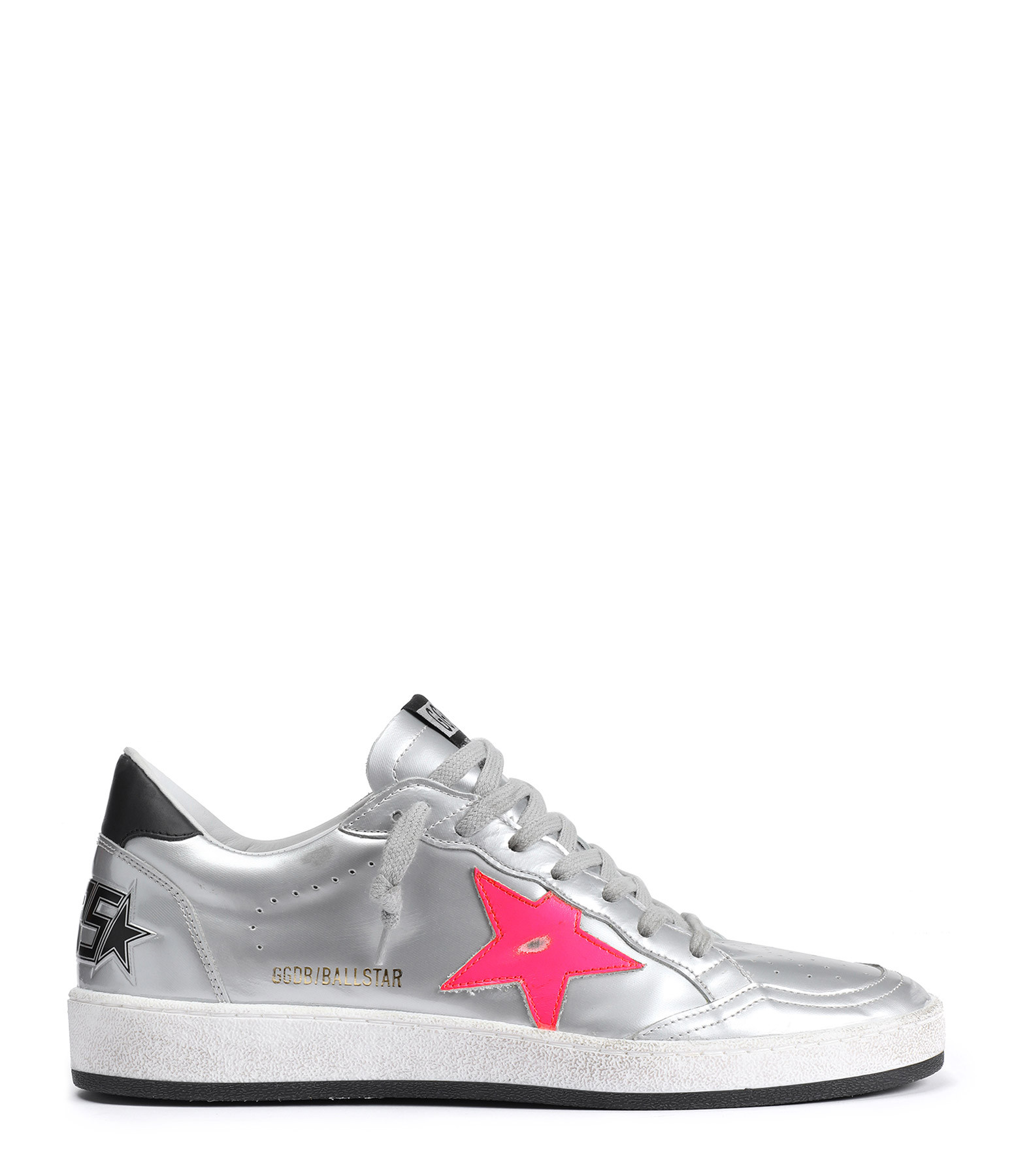 GOLDEN GOOSE - Baskets Ball Star Cuir Argenté Rose Fushia
