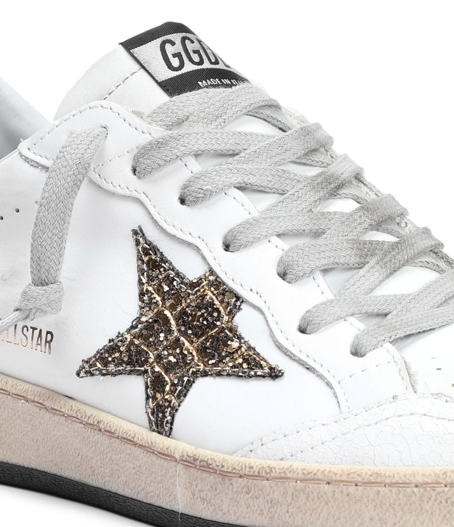 GOLDEN GOOSE - Baskets Ball Star Cuir Blanc Doré