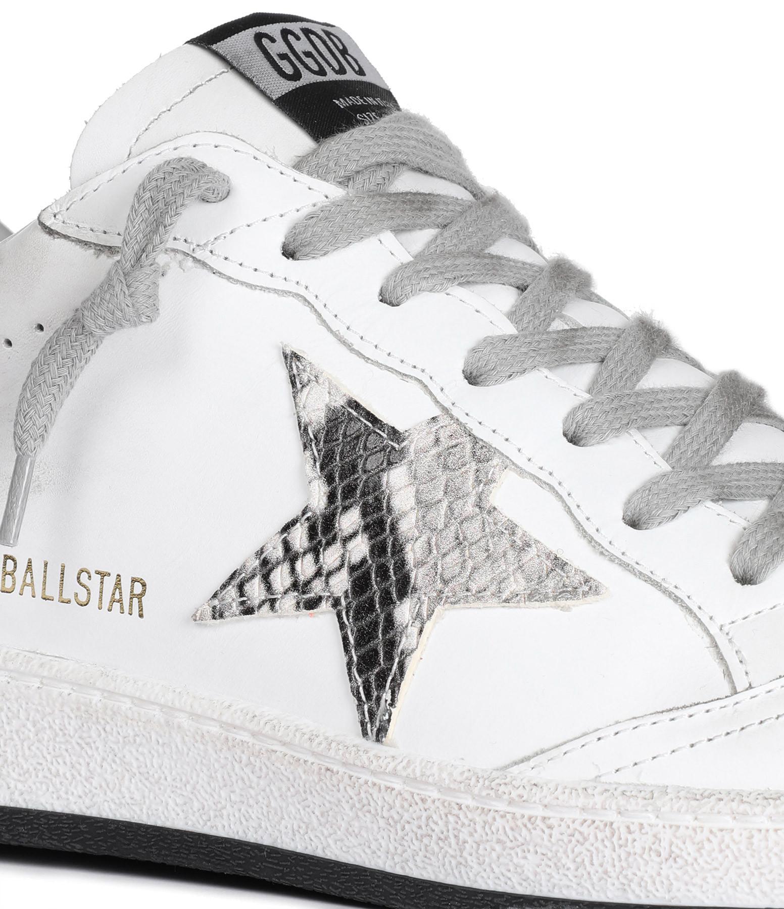 GOLDEN GOOSE - Baskets Ball Star Rock Cuir Blanc Python