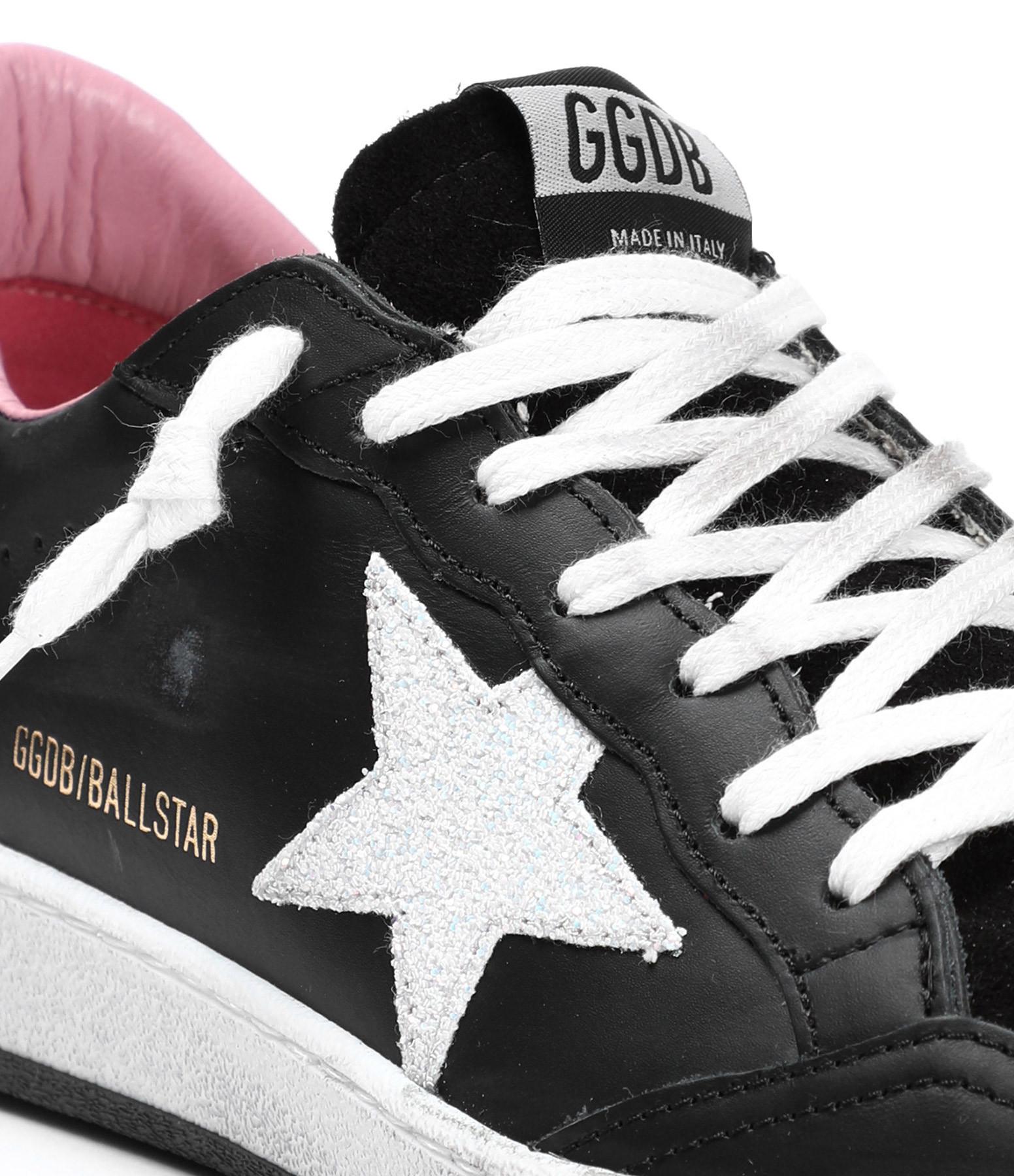 GOLDEN GOOSE - Baskets Ball Star Cuir Noir Blanc