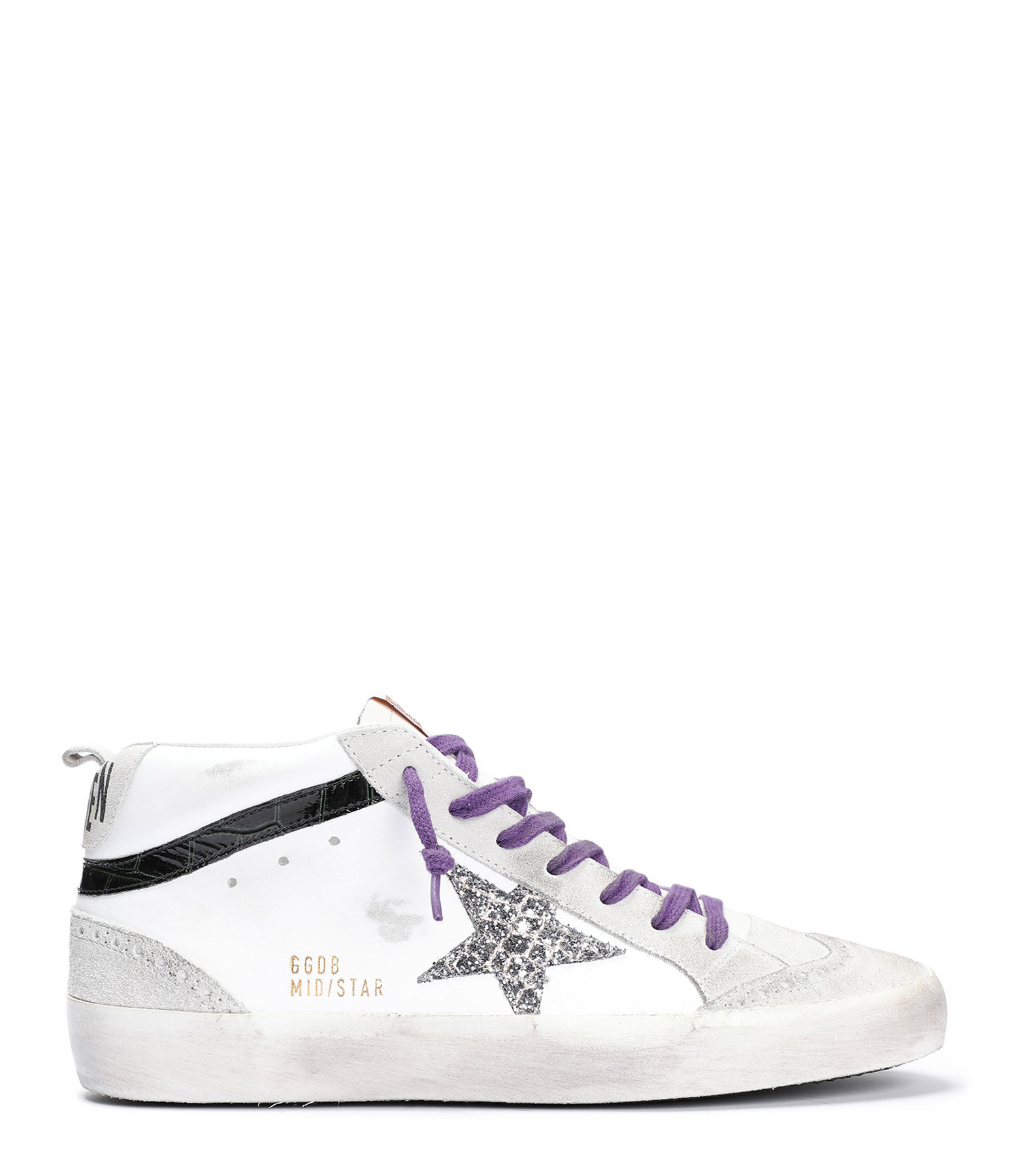 Baskets Mid Star Paillettes Cuir Blanc