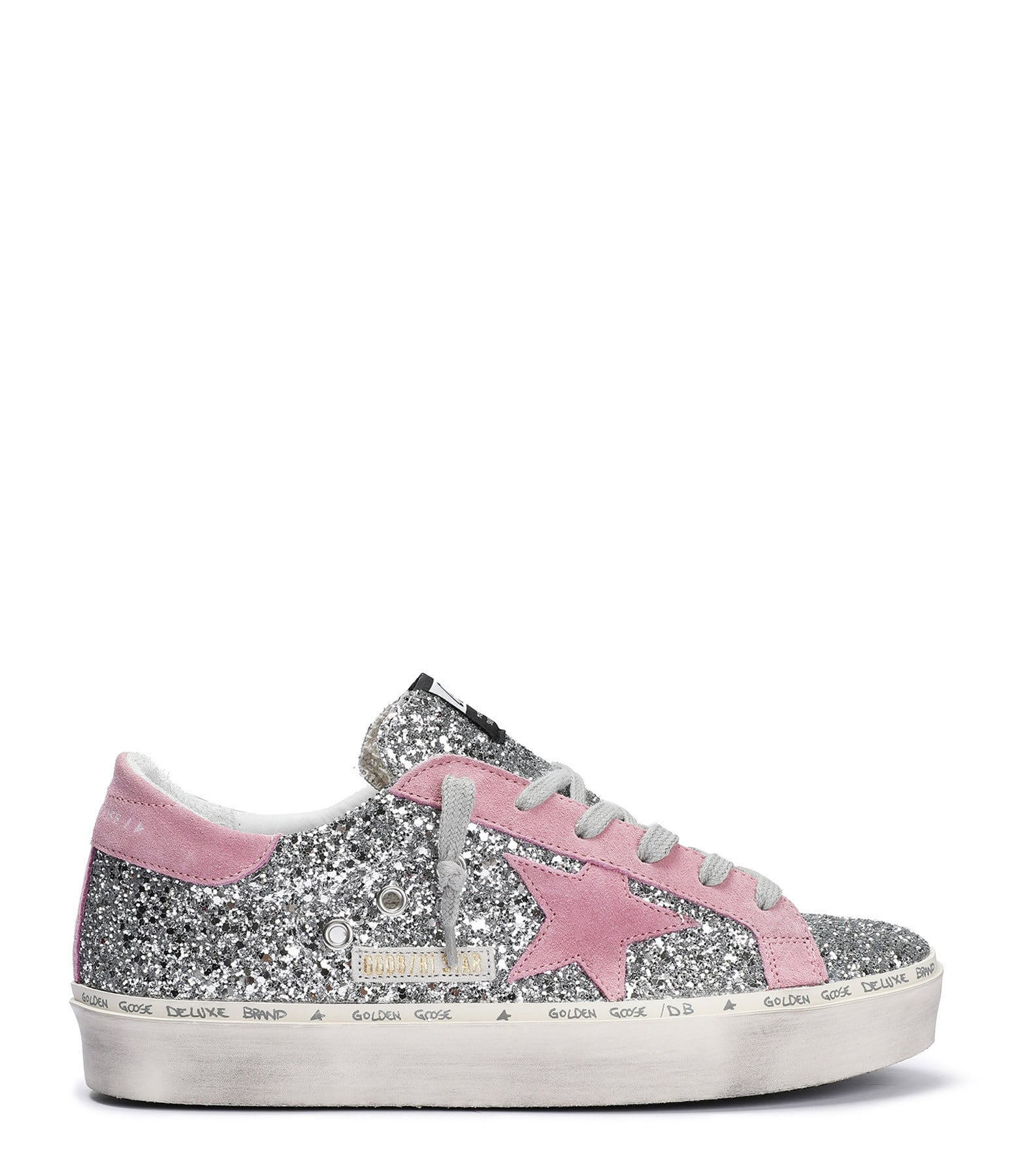 GOLDEN GOOSE - Baskets Hi Star Paillettes Cuir Argenté Rose