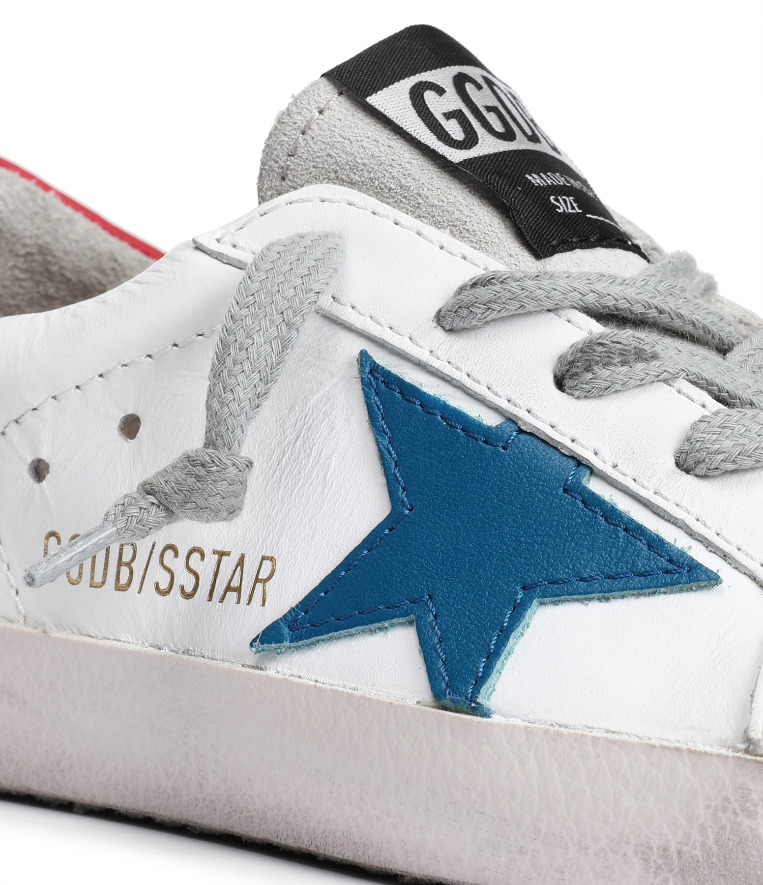 GOLDEN GOOSE - Baskets Enfant Superstar Cuir Blanc Rouge Bleu