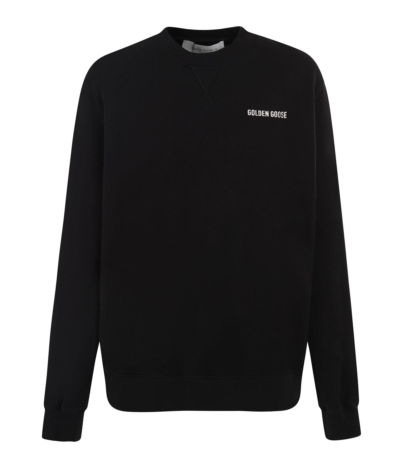 GOLDEN GOOSE - Sweatshirt Homme Sneakers Lover Coton Noir