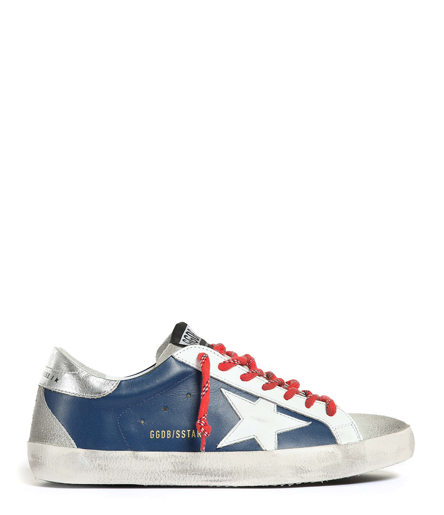 GOLDEN GOOSE - Baskets Homme Superstar Cuir Bleu Rouge