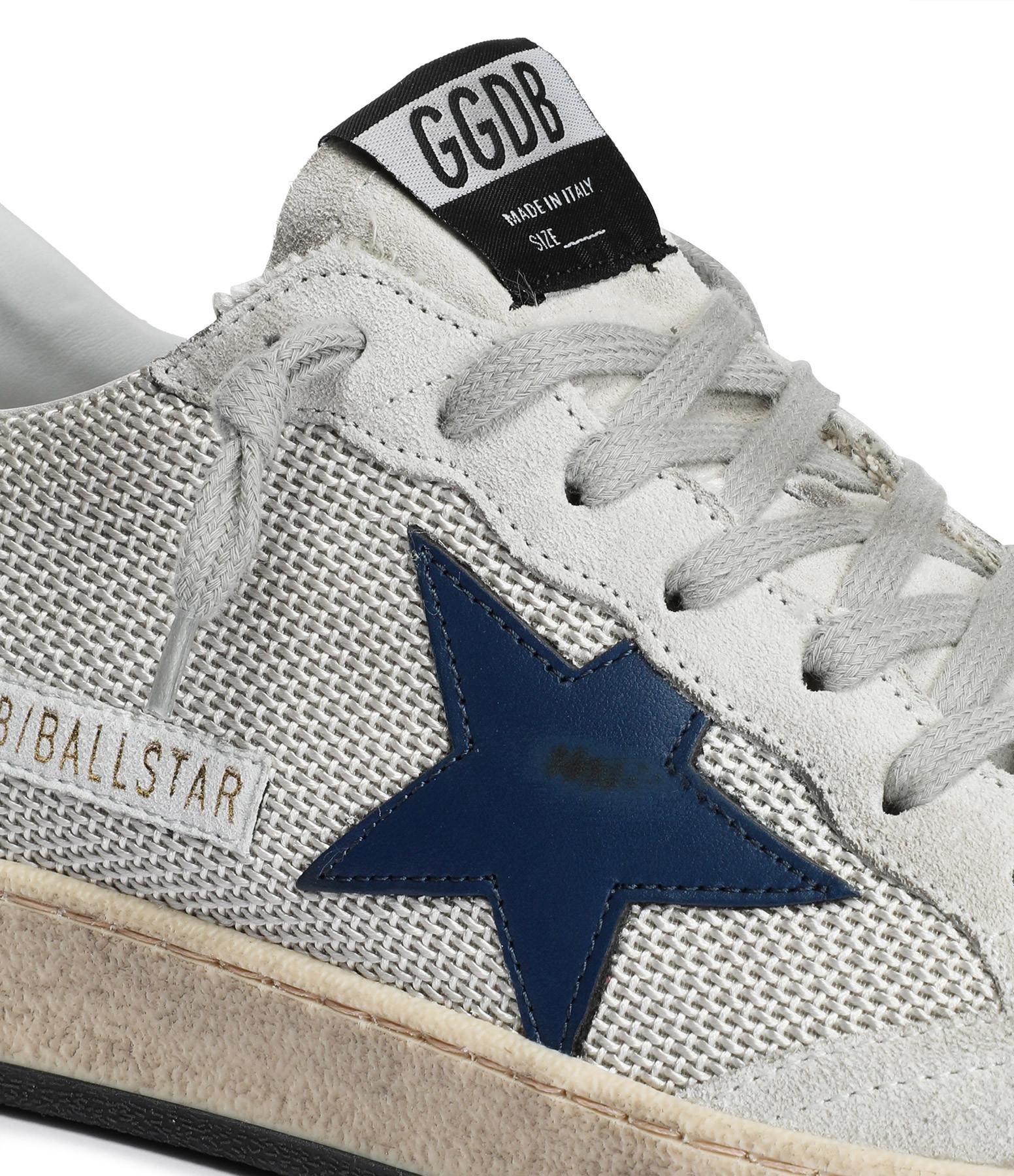 GOLDEN GOOSE - Baskets Homme Ball Star Cuir Argenté Bleu