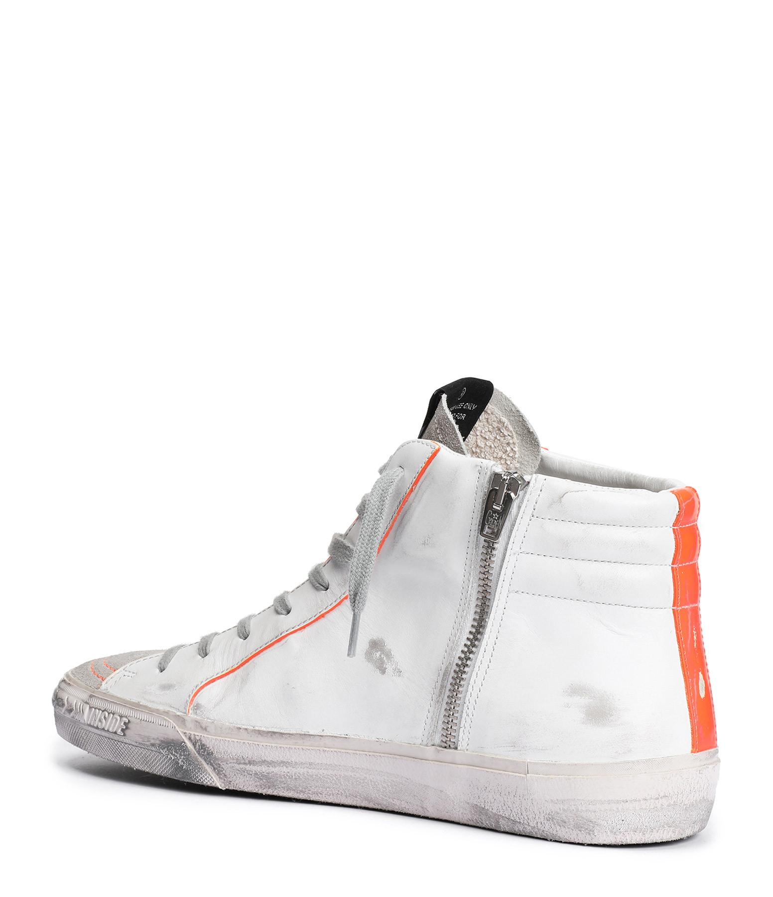 GOLDEN GOOSE - Baskets Homme Slide Cuir Blanc Orange