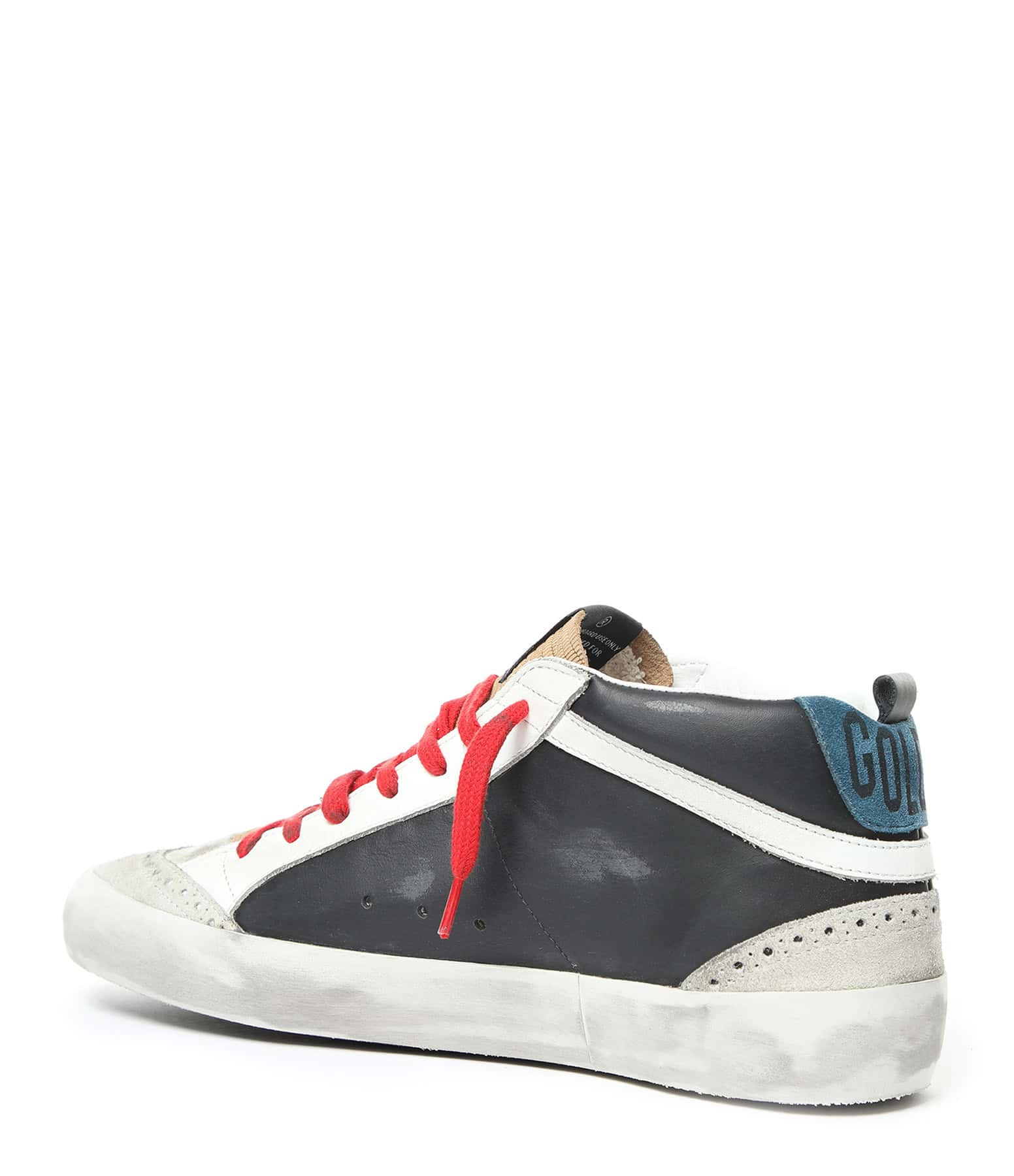 GOLDEN GOOSE - Baskets Homme Mid Star Cuir Noir Rouge
