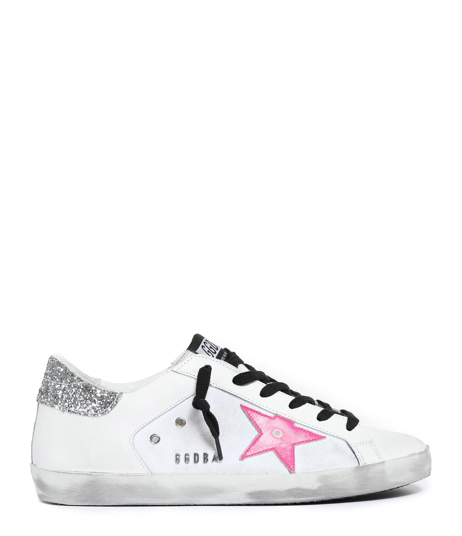 Baskets Superstar Cuir Blanc Rose Fluo