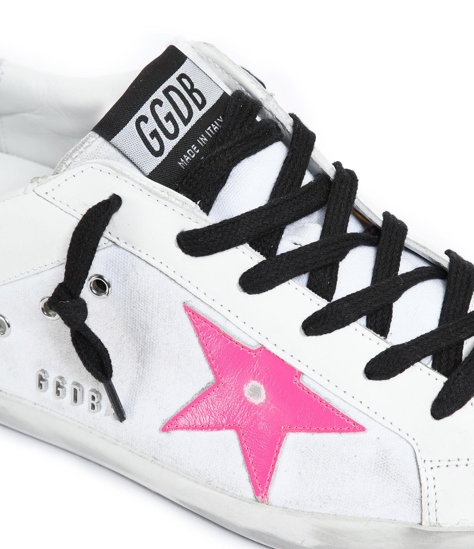 GOLDEN GOOSE - Baskets Superstar Cuir Blanc Rose Fluo
