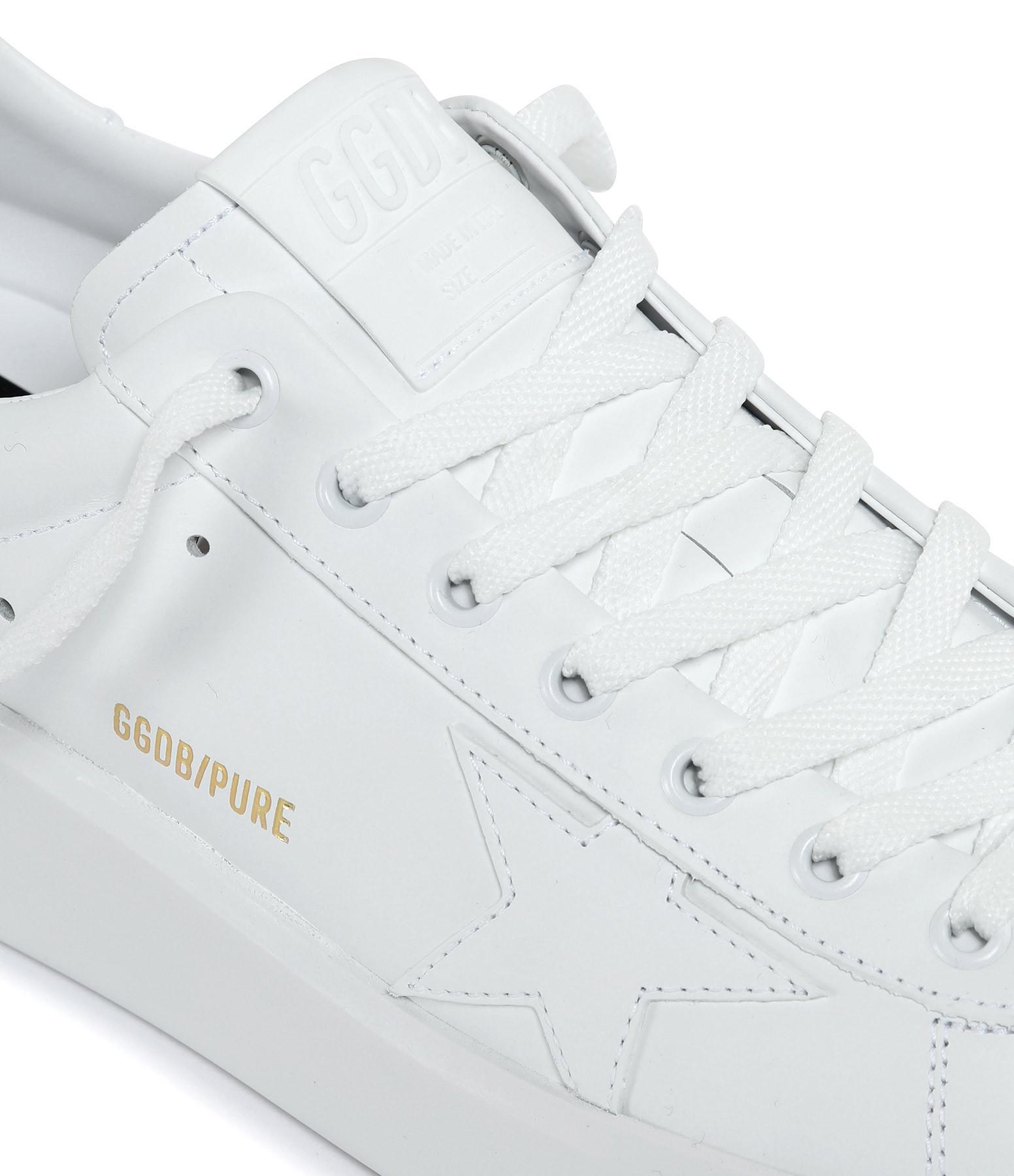 GOLDEN GOOSE - Baskets Homme Pure Star Cuir Blanc