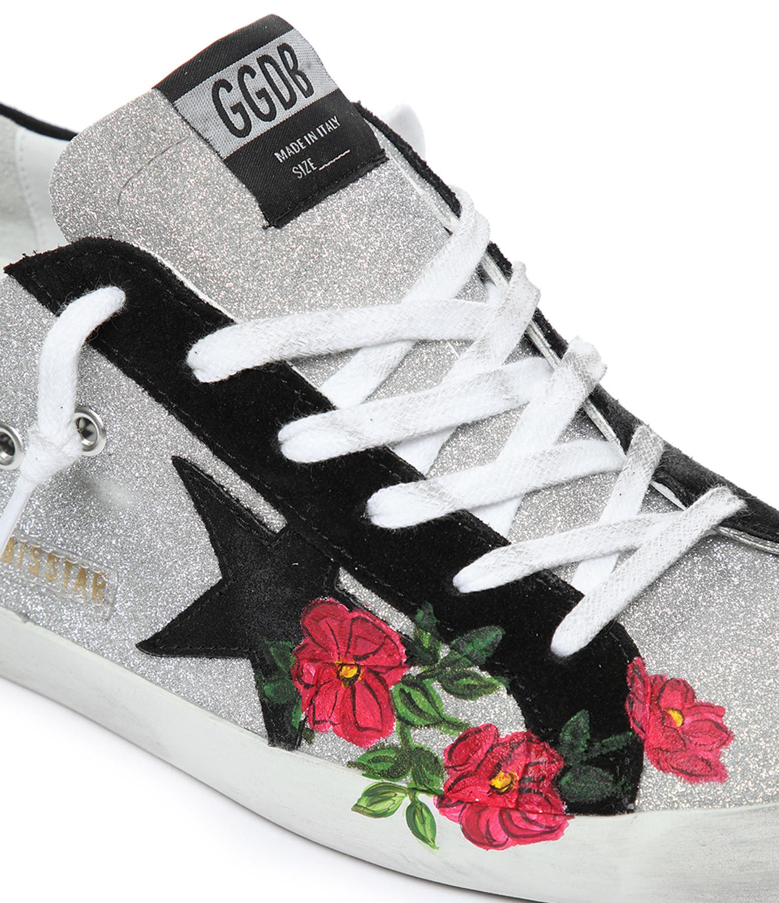 GOLDEN GOOSE - Baskets Superstar Cuir Argenté Roses