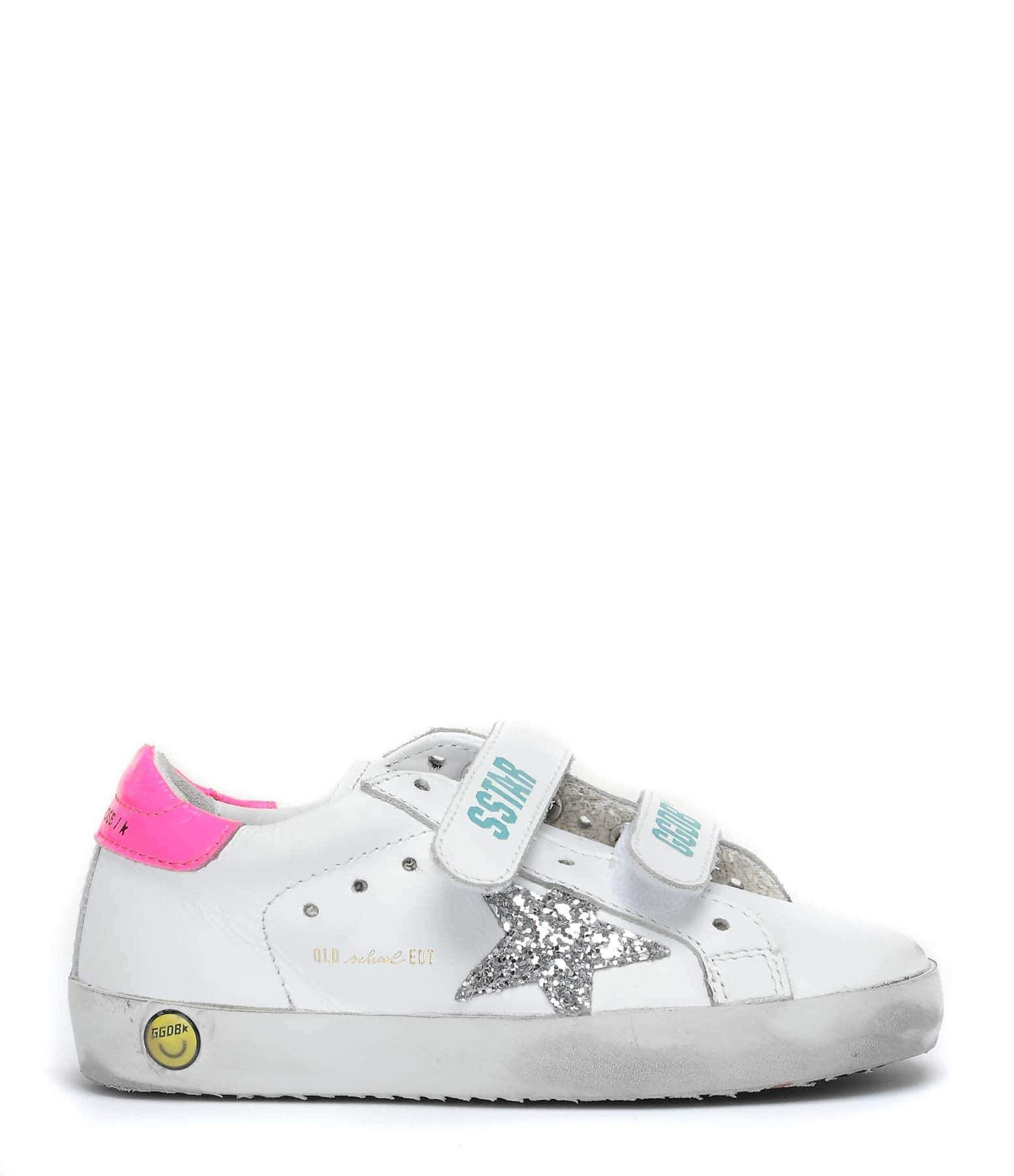 GOLDEN GOOSE - Baskets Enfant Old School Cuir Blanc Fucshia